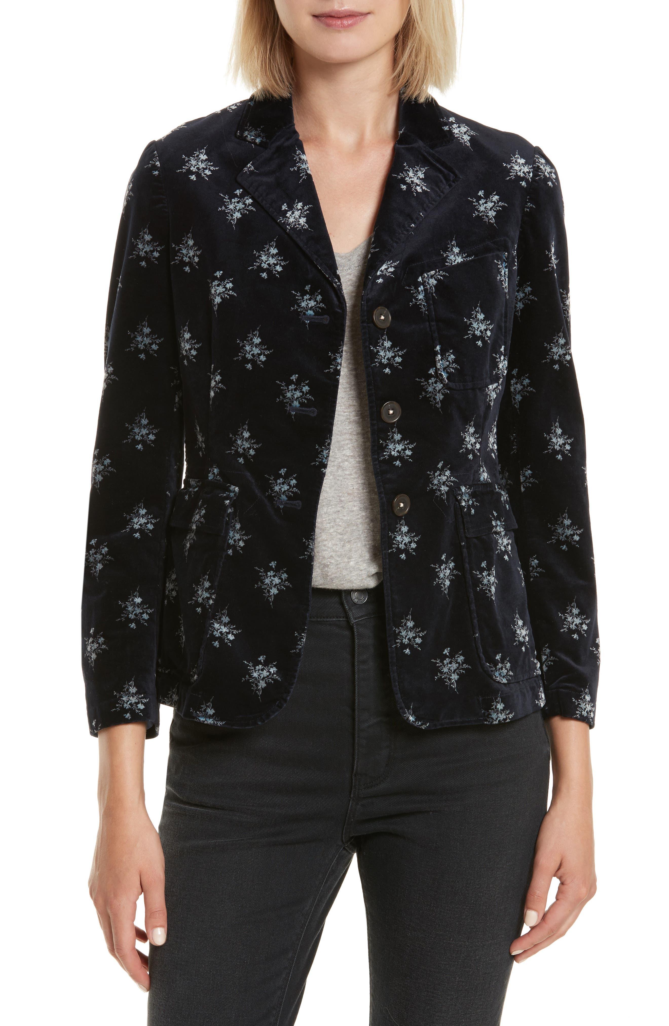 Rebecca Taylor Celeste Print Velvet Jacket