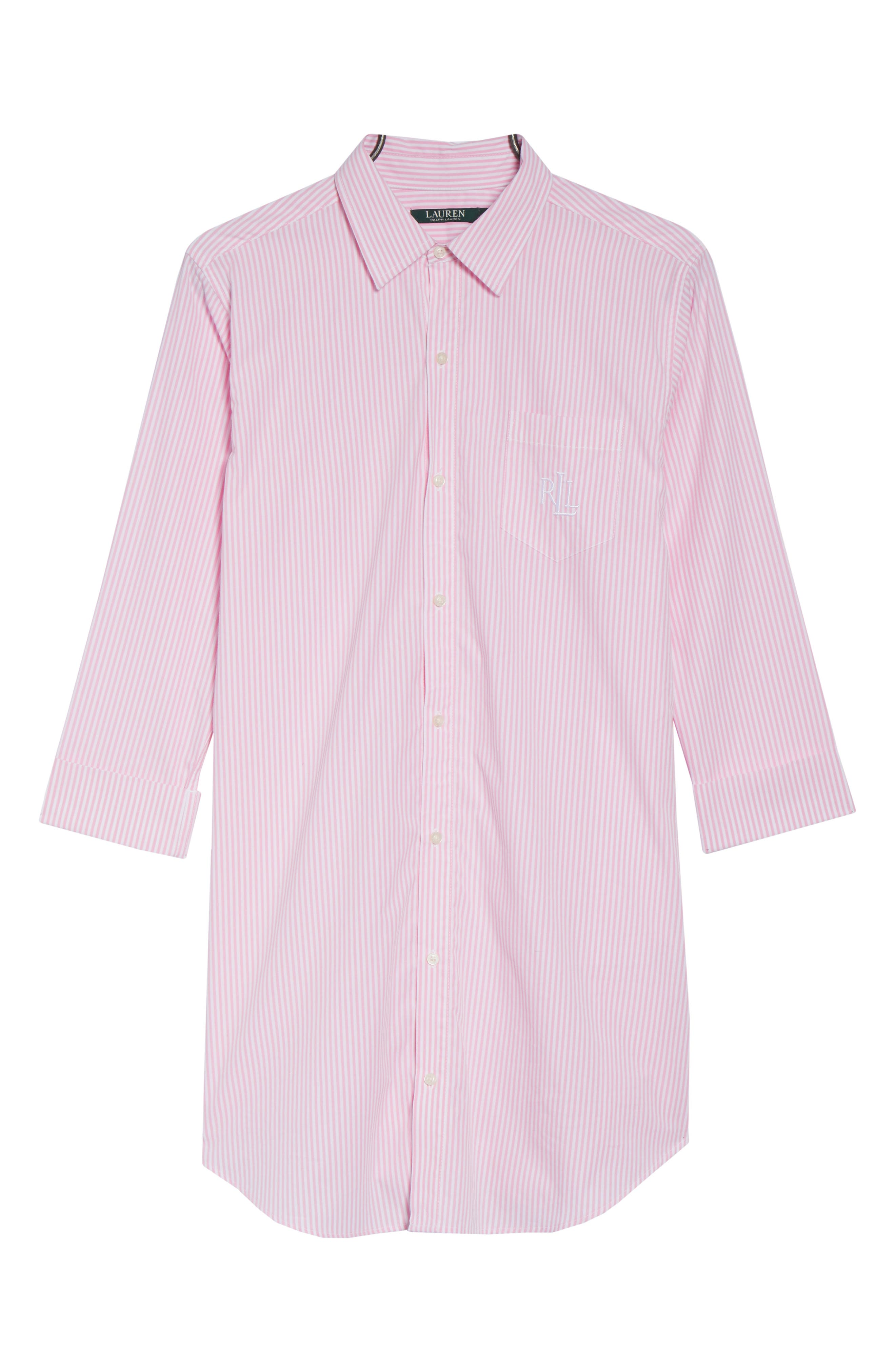 Cotton Poplin Sleep Shirt,                             Alternate thumbnail 5, color,                             Stripe Lagoon Pink/ White