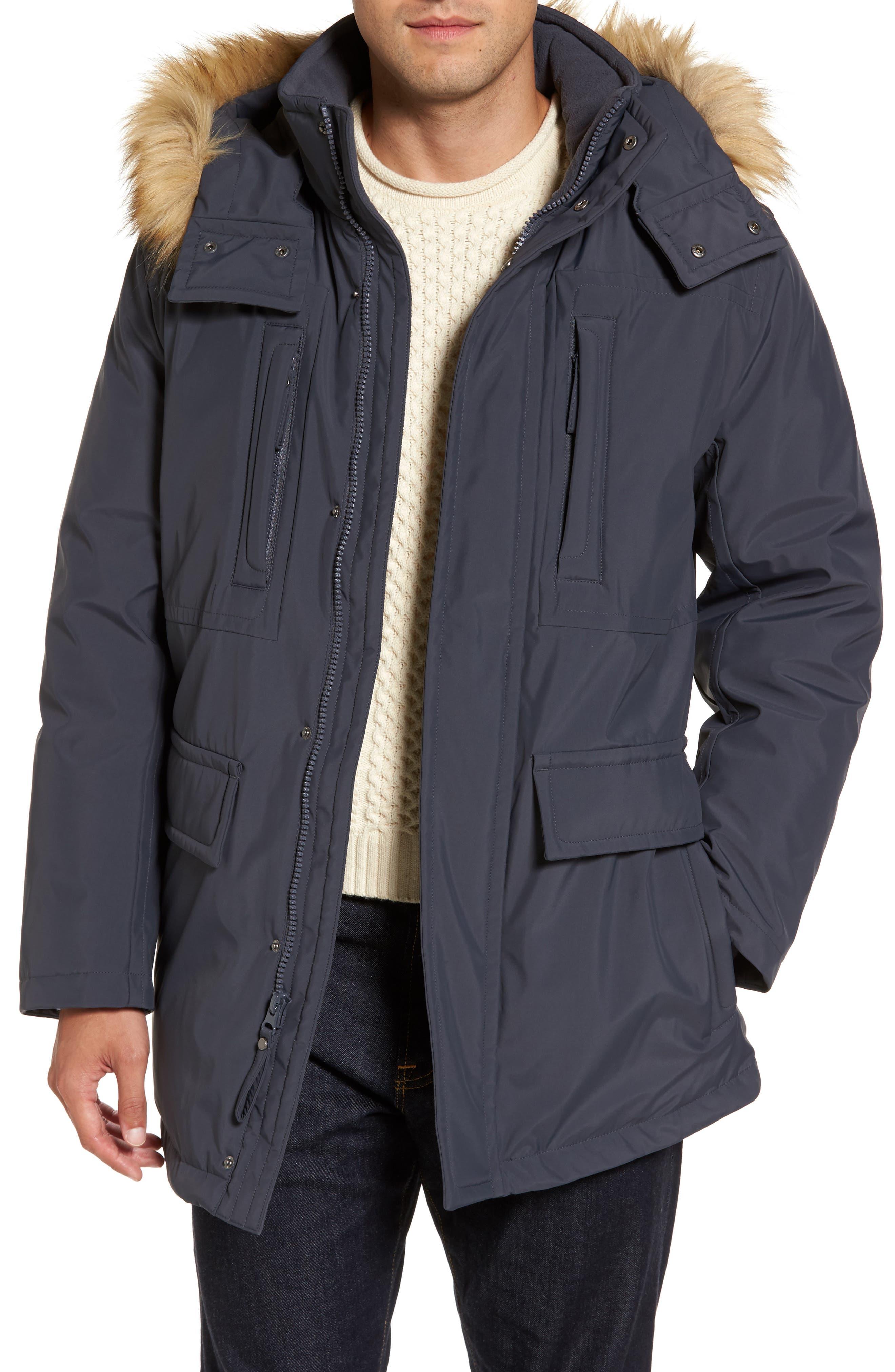 Down Jacket with Faux Fur Trim,                         Main,                         color, Magnet