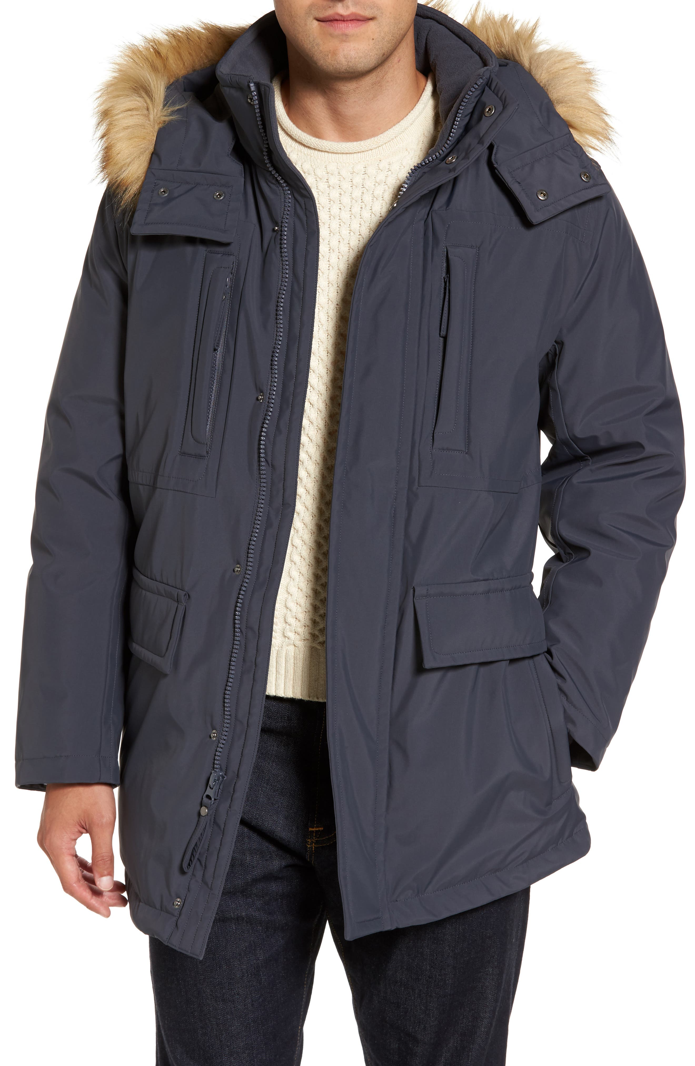 Marc New York Down Jacket with Faux Fur Trim