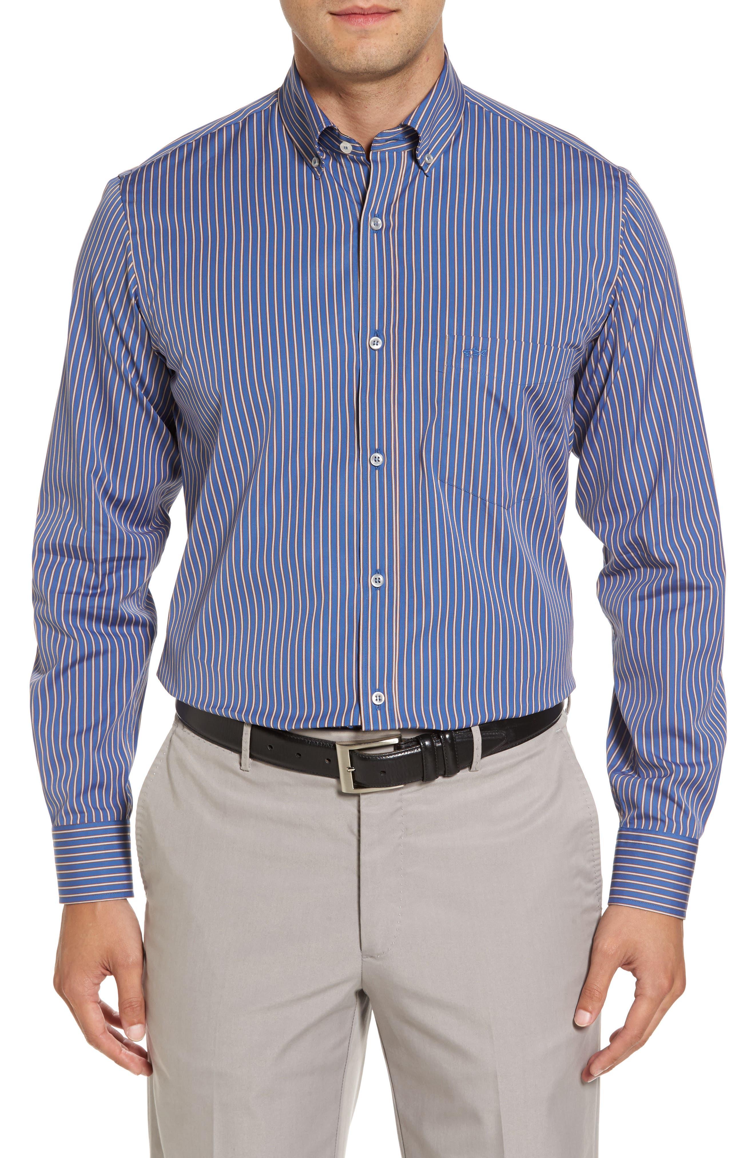 Paul&Shark Striped Sport Shirt,                         Main,                         color, Blue / White