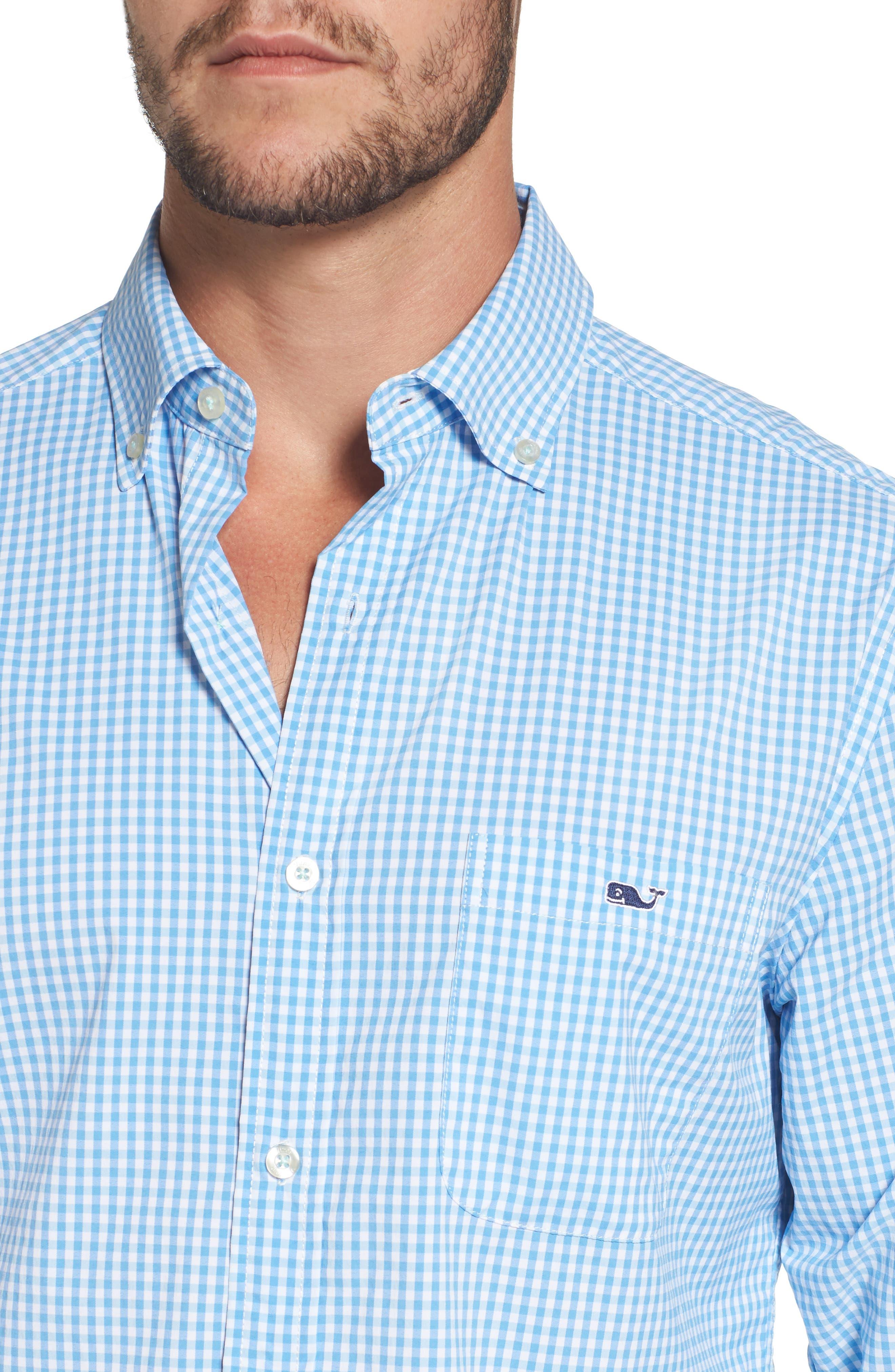 Seawater Gingham Performance Sport Shirt,                             Alternate thumbnail 4, color,                             Hull Blue