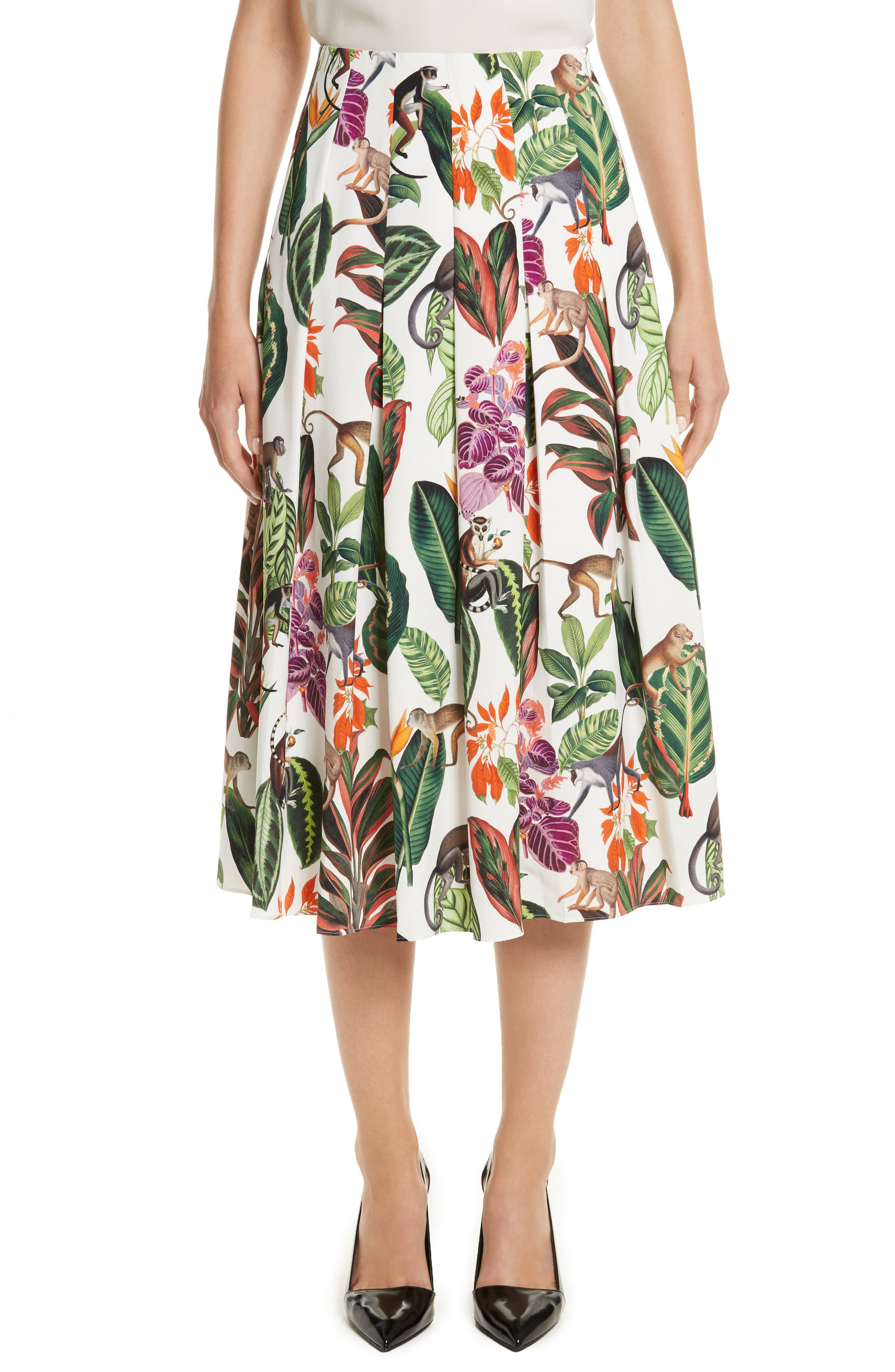 Oscar de la Renta Jungle Print Pleated Stretch Silk Skirt
