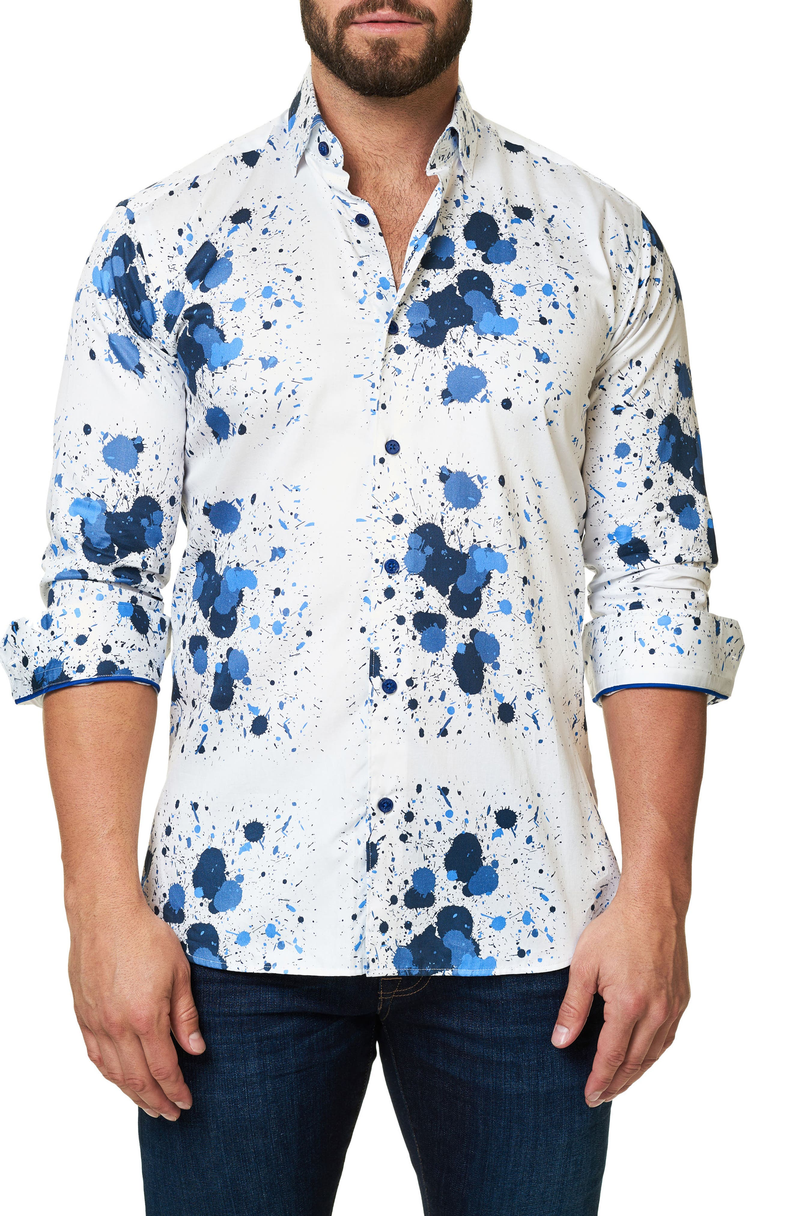 Trim Fit Splash Print Sport Shirt,                             Main thumbnail 1, color,                             White