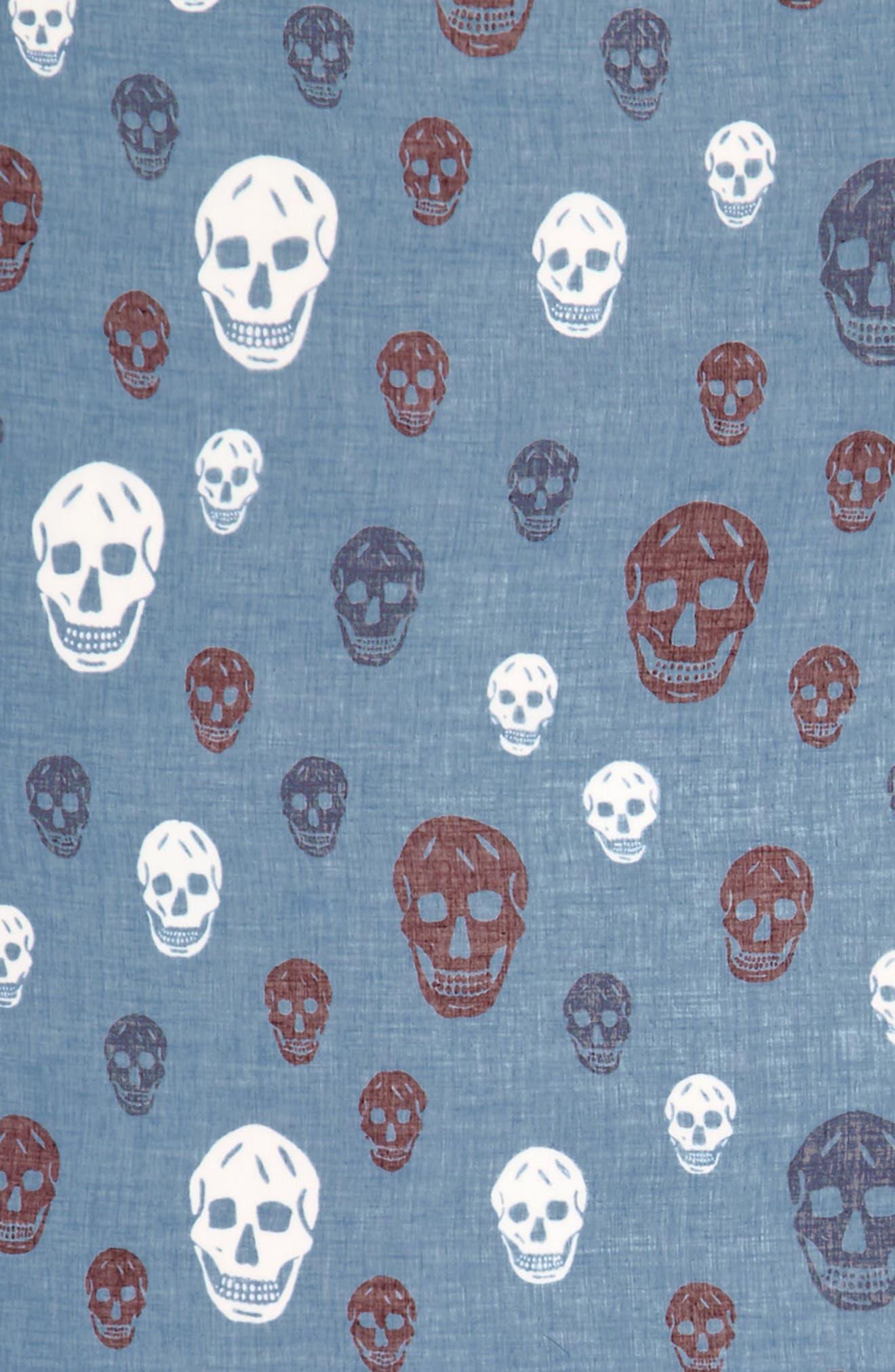 Multicolor Skull Silk & Modal Scarf,                             Alternate thumbnail 3, color,                             Nile Blue