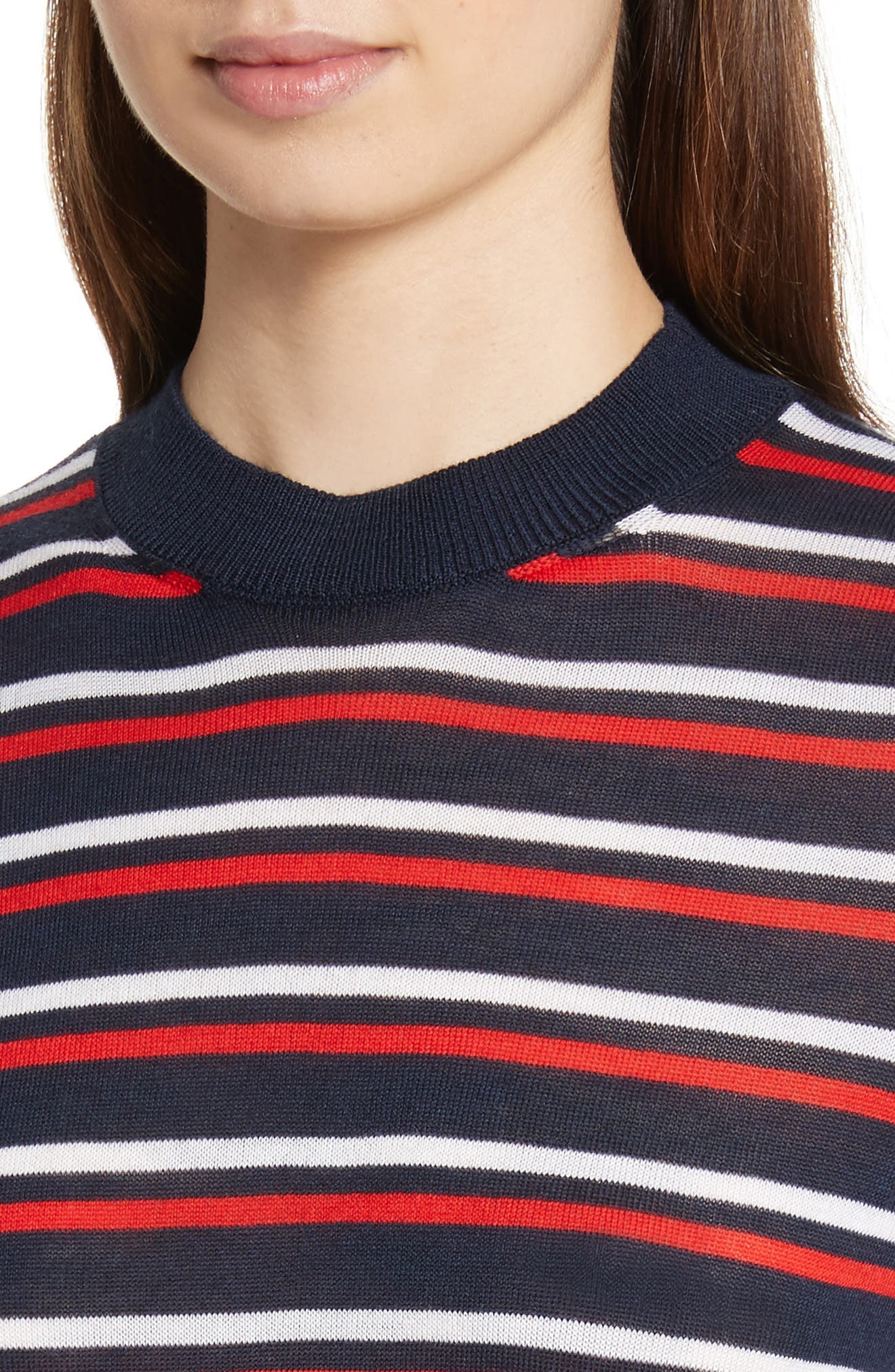 être cécile Stripe Knit Boyfriend Sweater,                             Alternate thumbnail 4, color,                             Marine Blue/ Red/ White