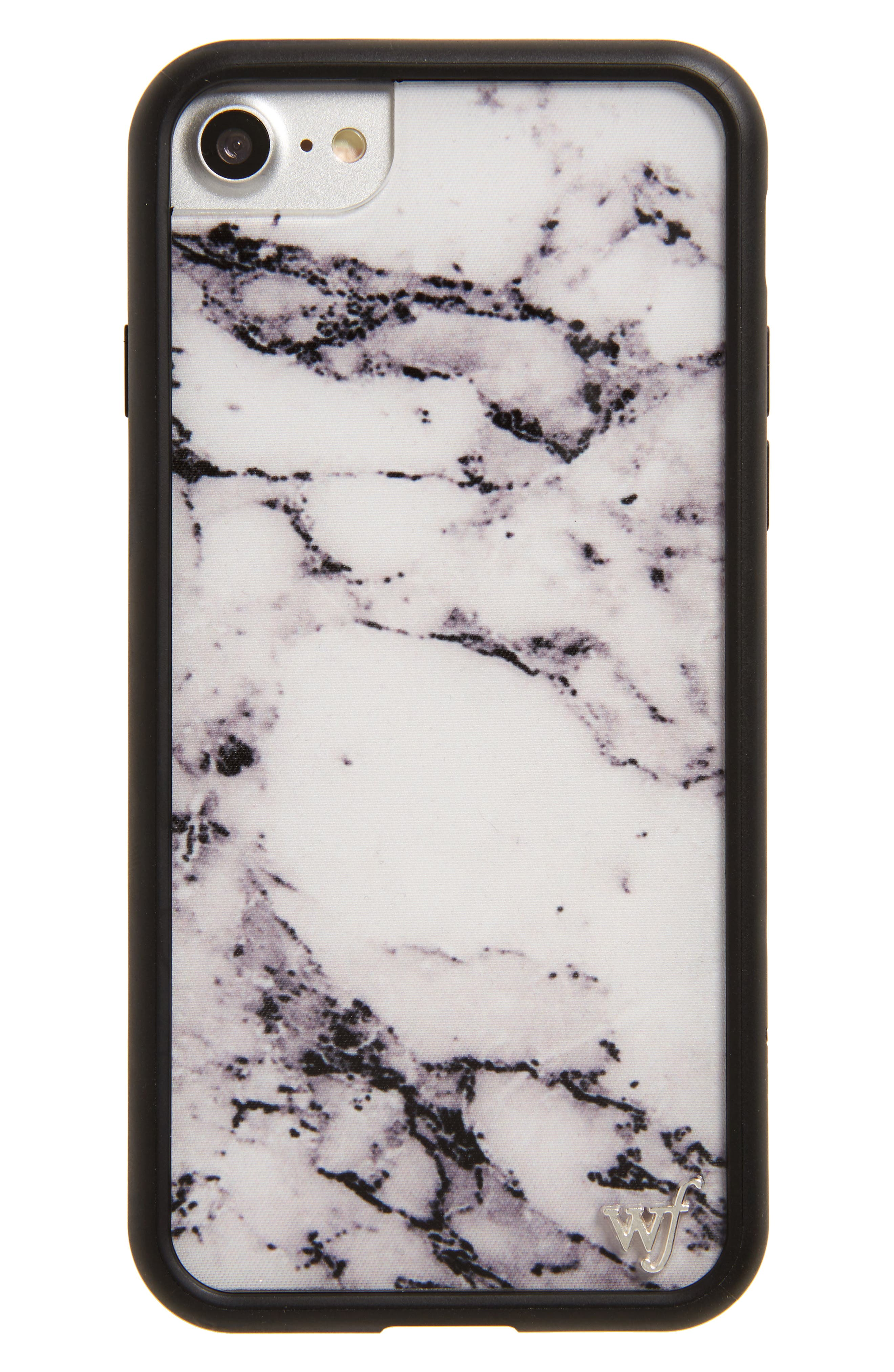 Marble iPhone 7 Case,                         Main,                         color, White/ Black