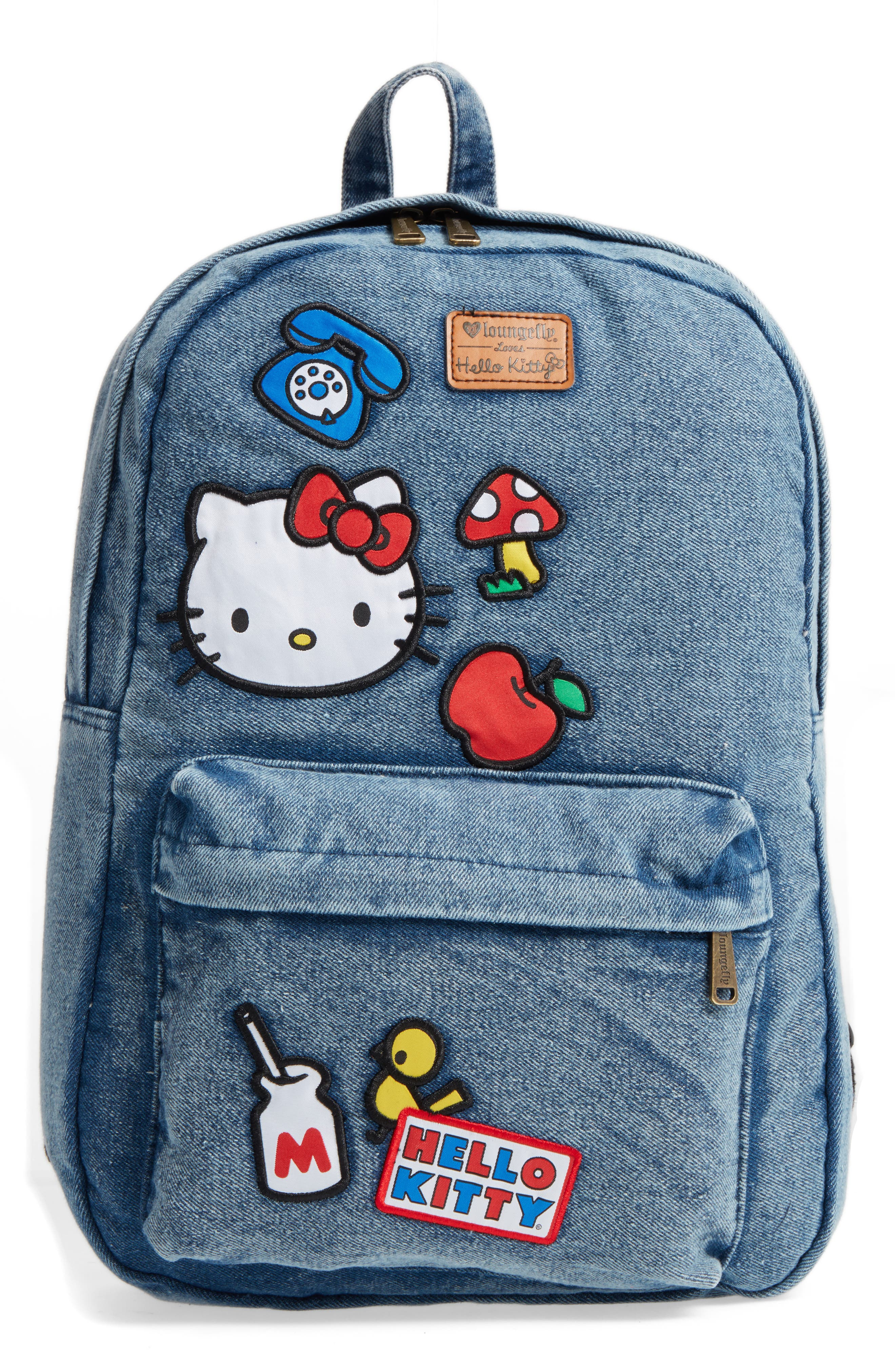 Main Image - Loungefly Hello Kitty® Patch Denim Backpack (Kids)