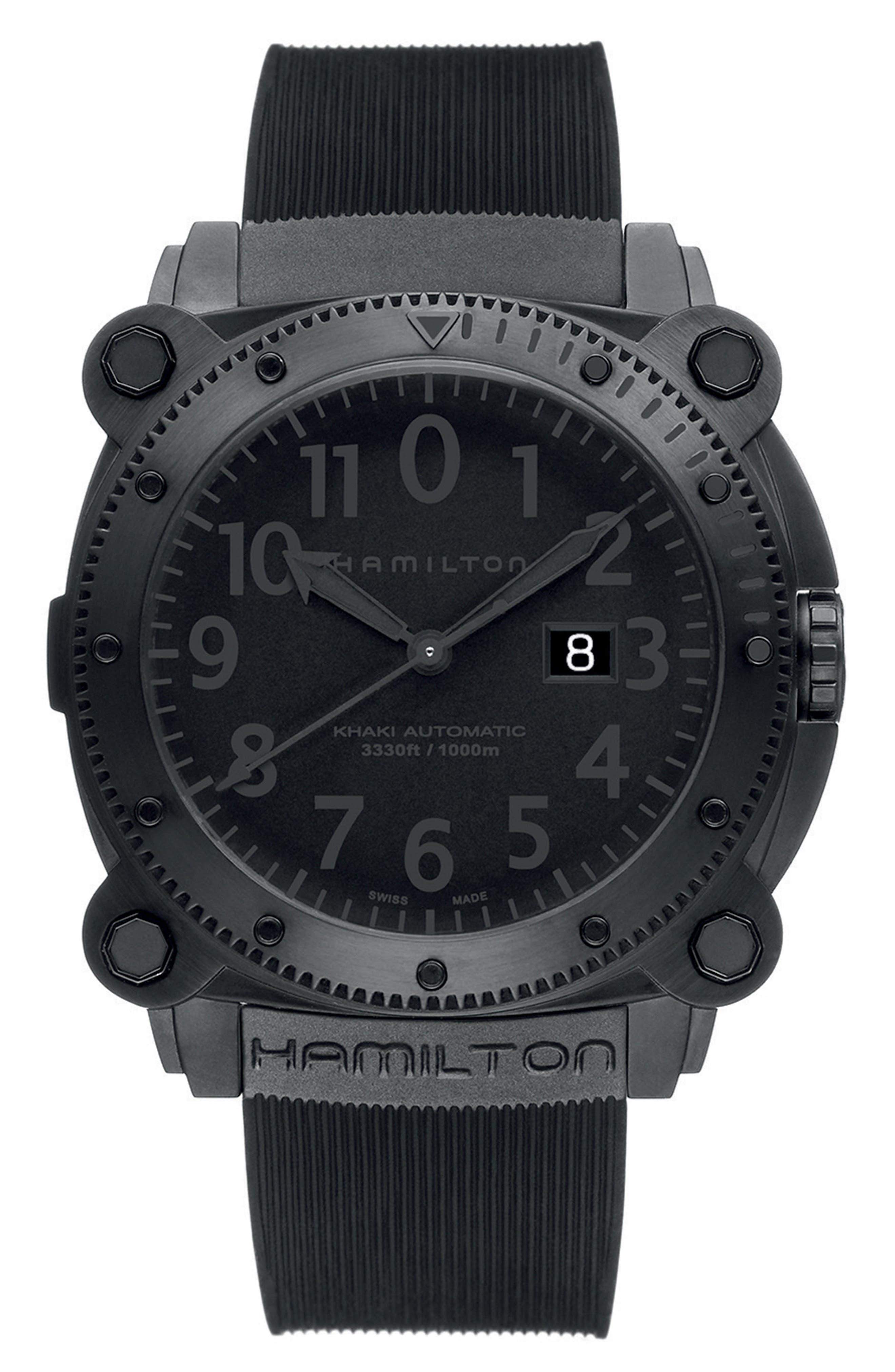 Main Image - Hamilton Khaki BelowZero Automatic Rubber Strap Watch, 46mm