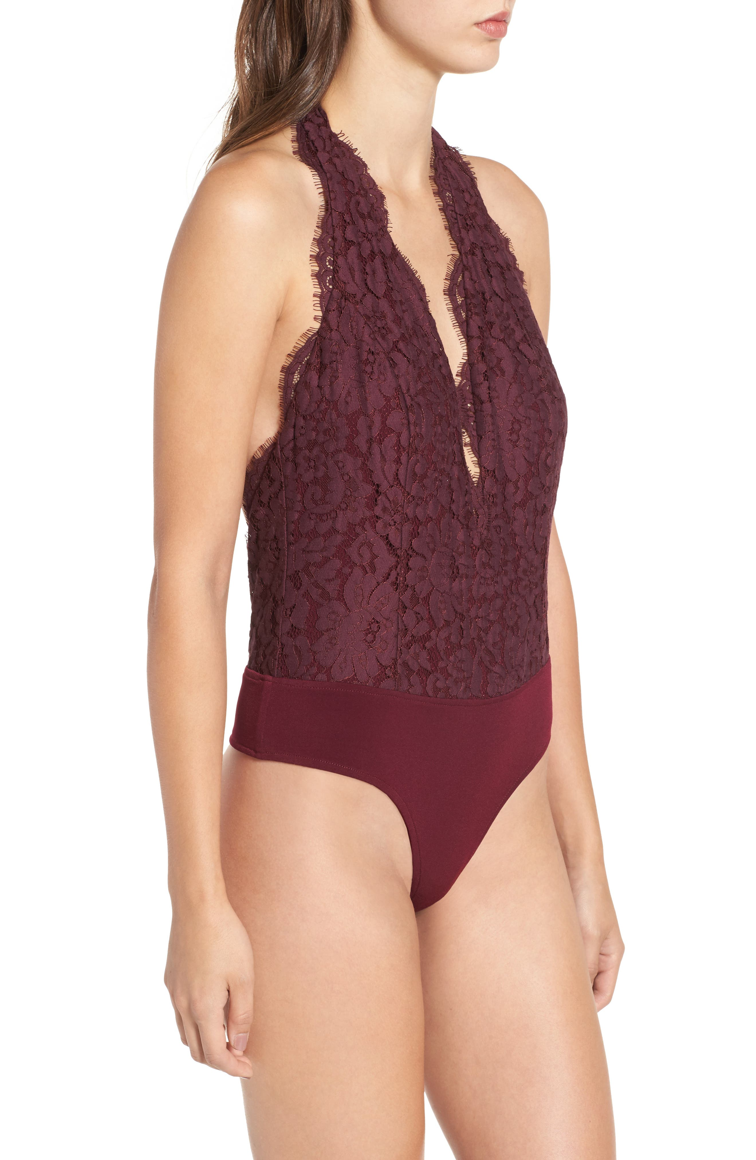 Rosalyn Lace Thong Bodysuit,                             Alternate thumbnail 4, color,                             Merlot