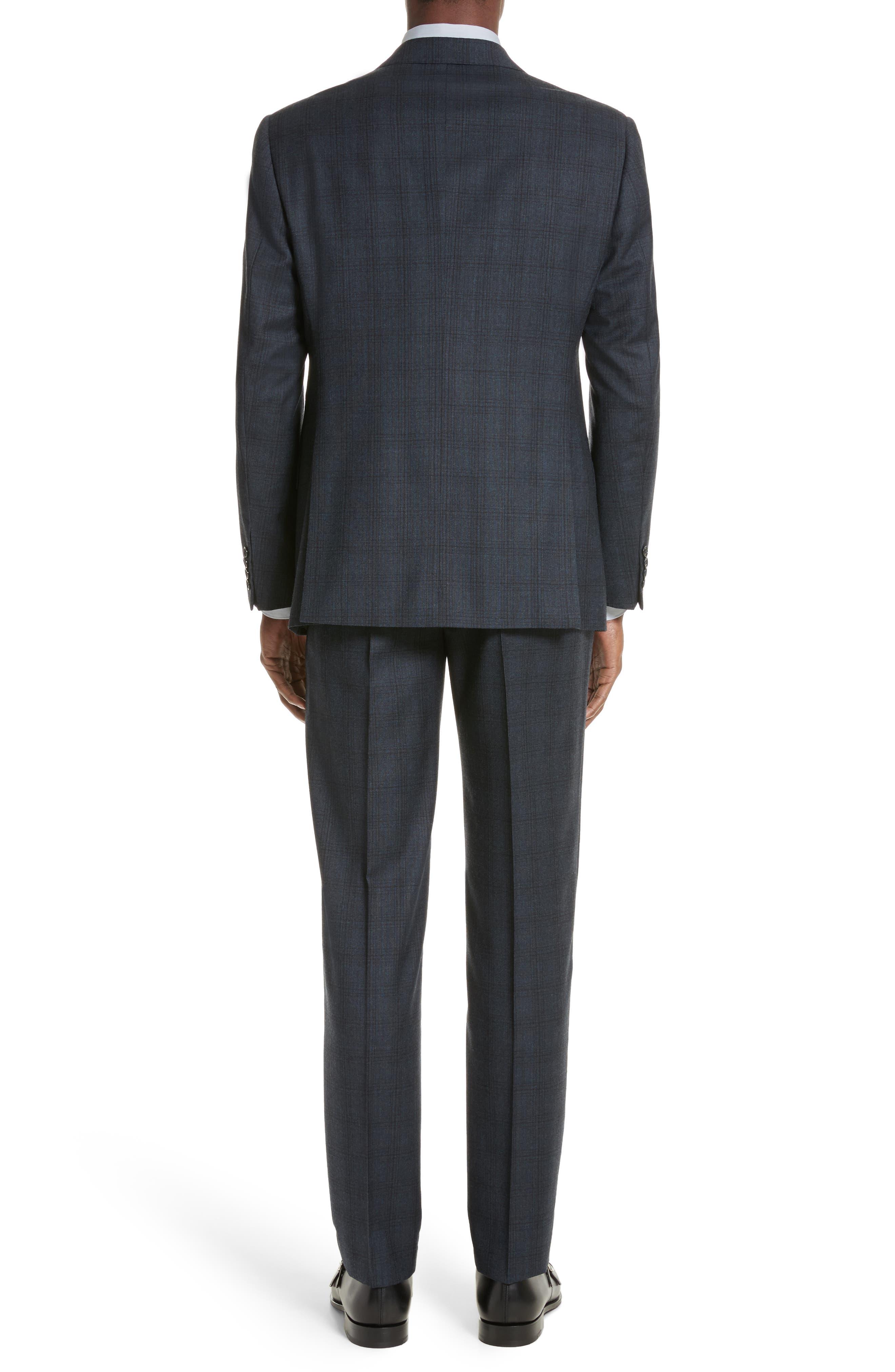 G-Line Trim Fit Plaid Wool Suit,                             Alternate thumbnail 2, color,                             Navy