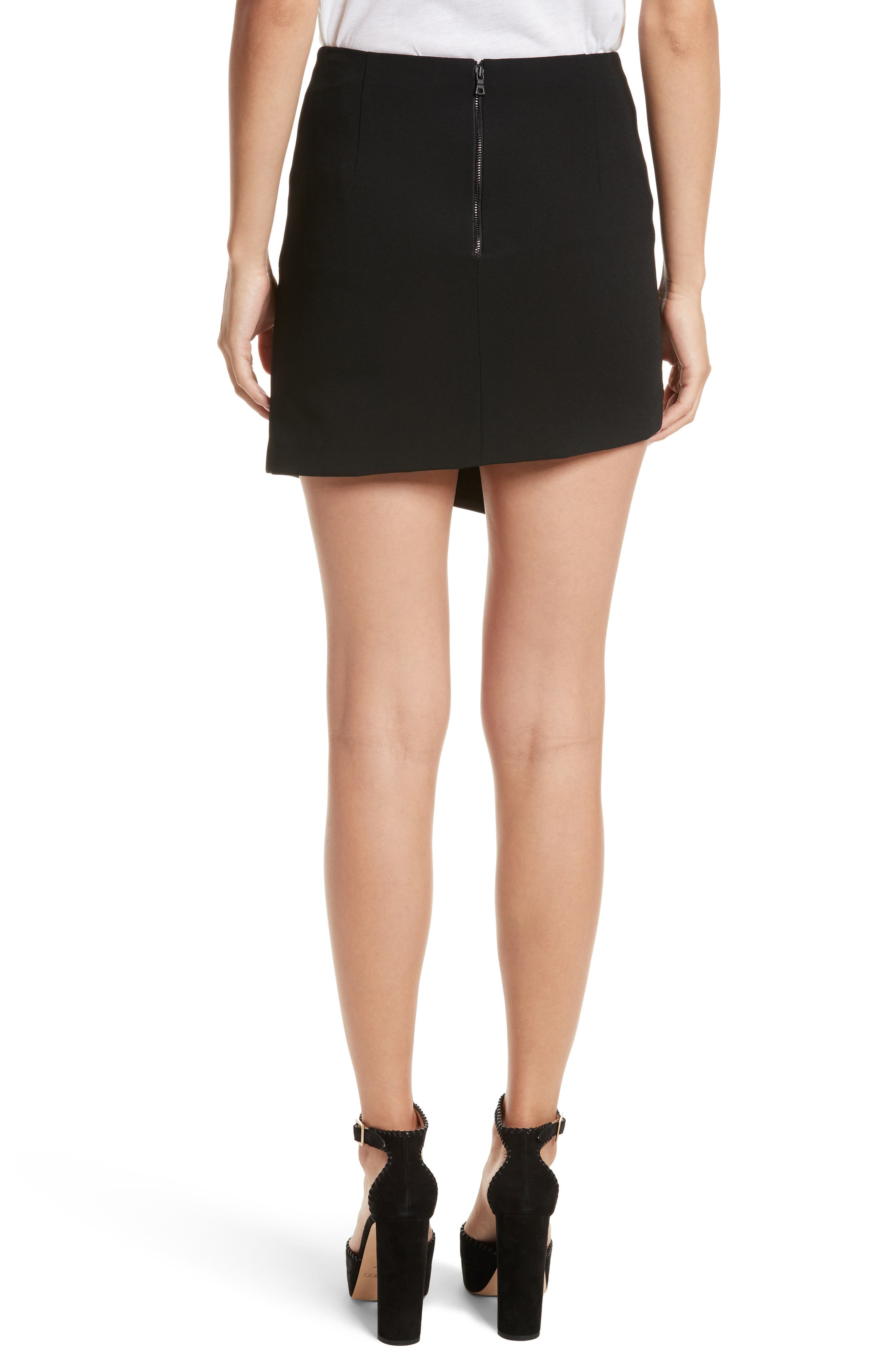 Dora Asymmetrical Miniskirt,                             Alternate thumbnail 3, color,                             Black