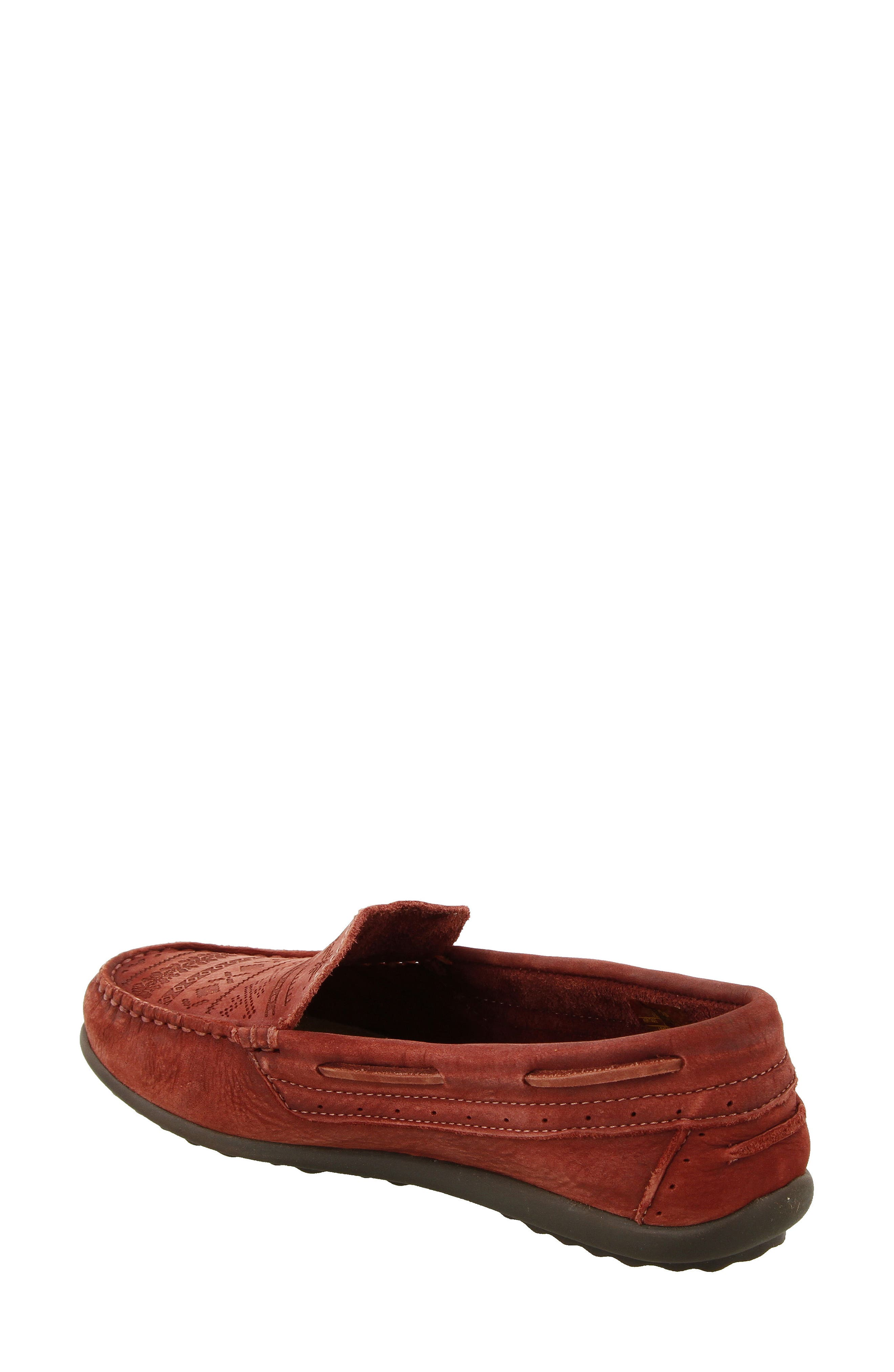Heritage Moccasin Flat,                             Alternate thumbnail 2, color,                             Spice Red Leather