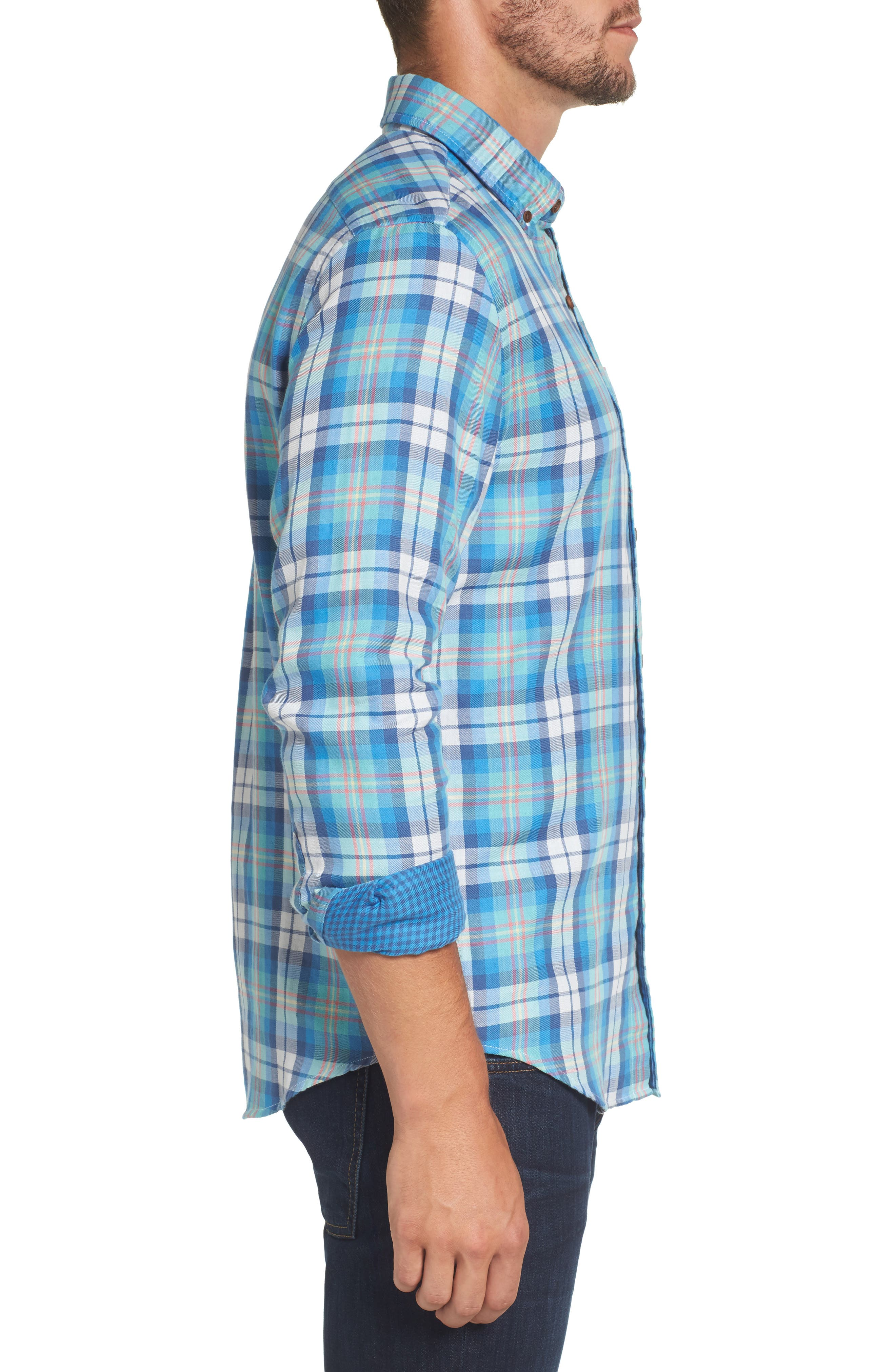 East Marsh Plaid Tucker Slim Fit Sport Shirt,                             Alternate thumbnail 3, color,                             Hull Blue