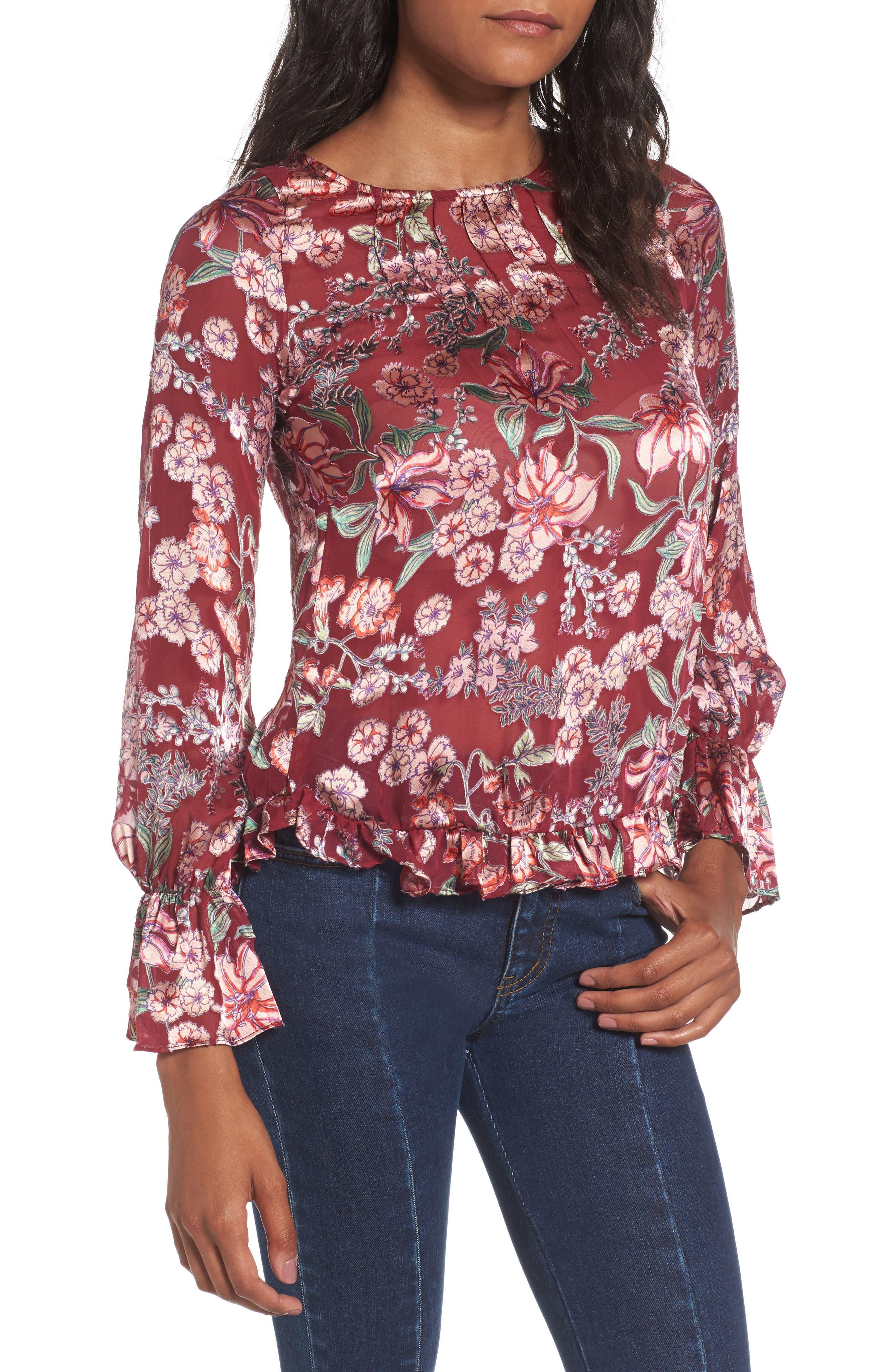 Flora Button Back Blouse,                         Main,                         color, Berry Floral
