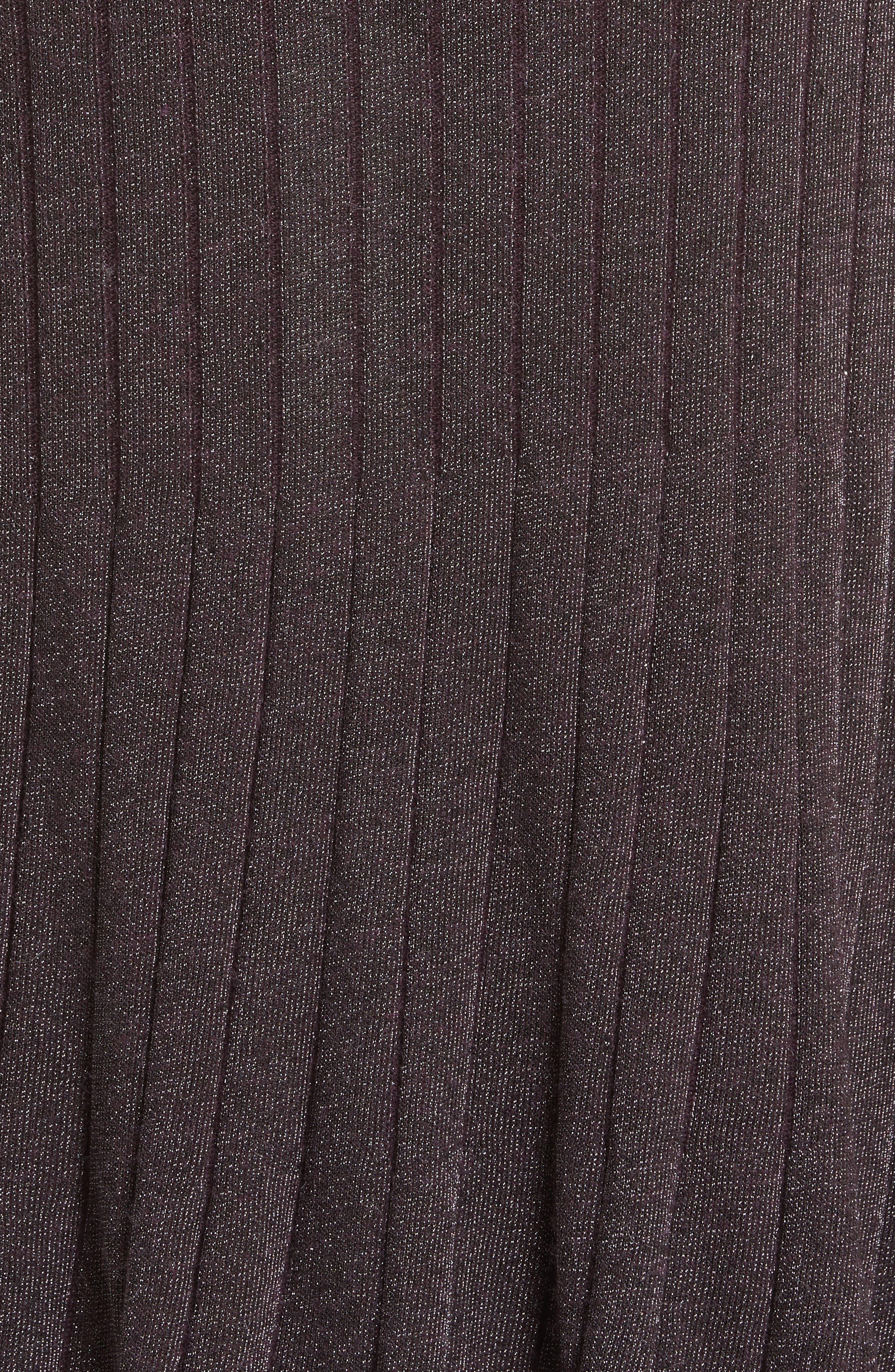 Metallic Ribbed Knit Skirt,                             Alternate thumbnail 5, color,                             Merlot