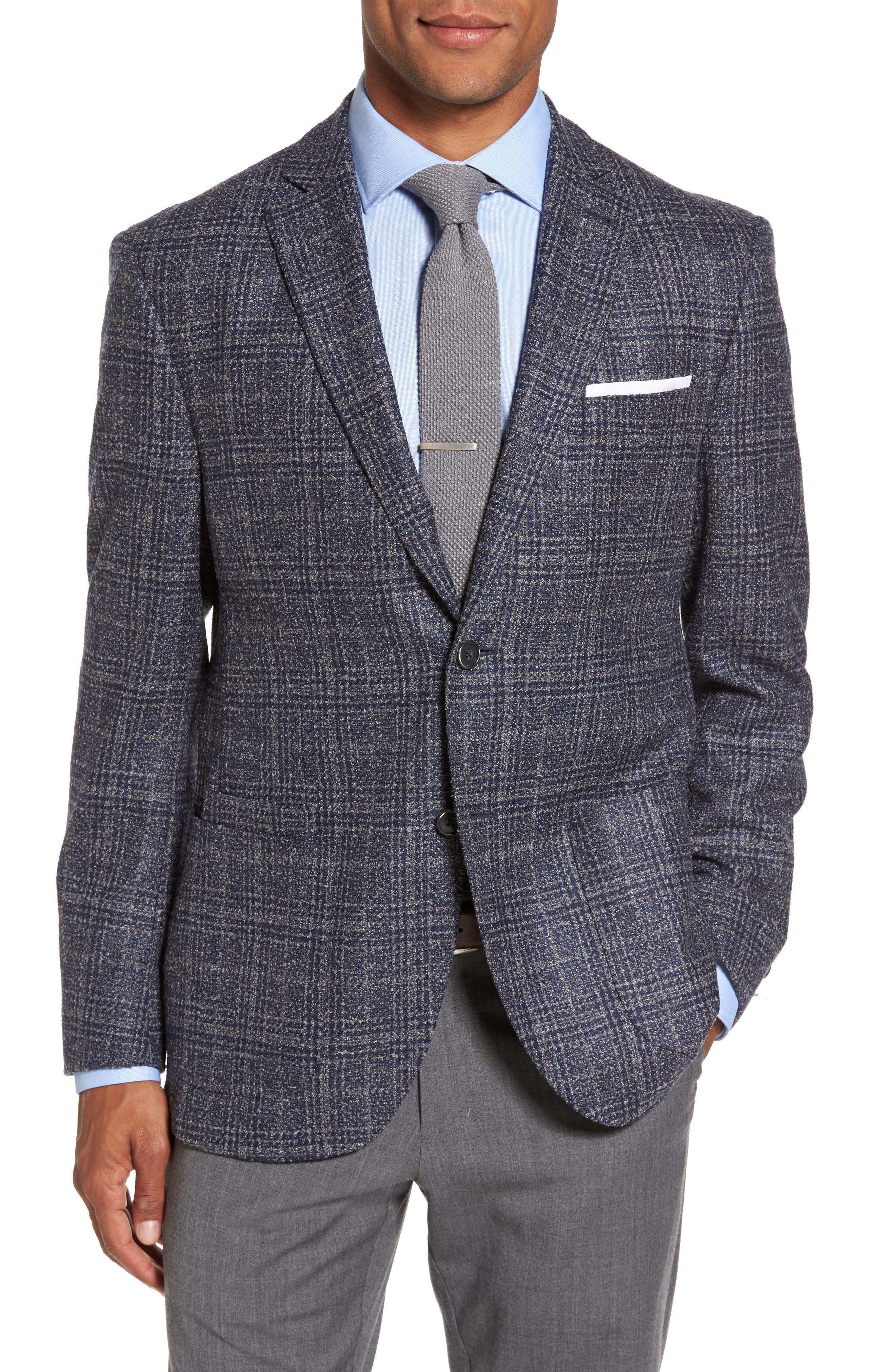 JKT New York Trim Fit Plaid Wool Blend Sport Coat