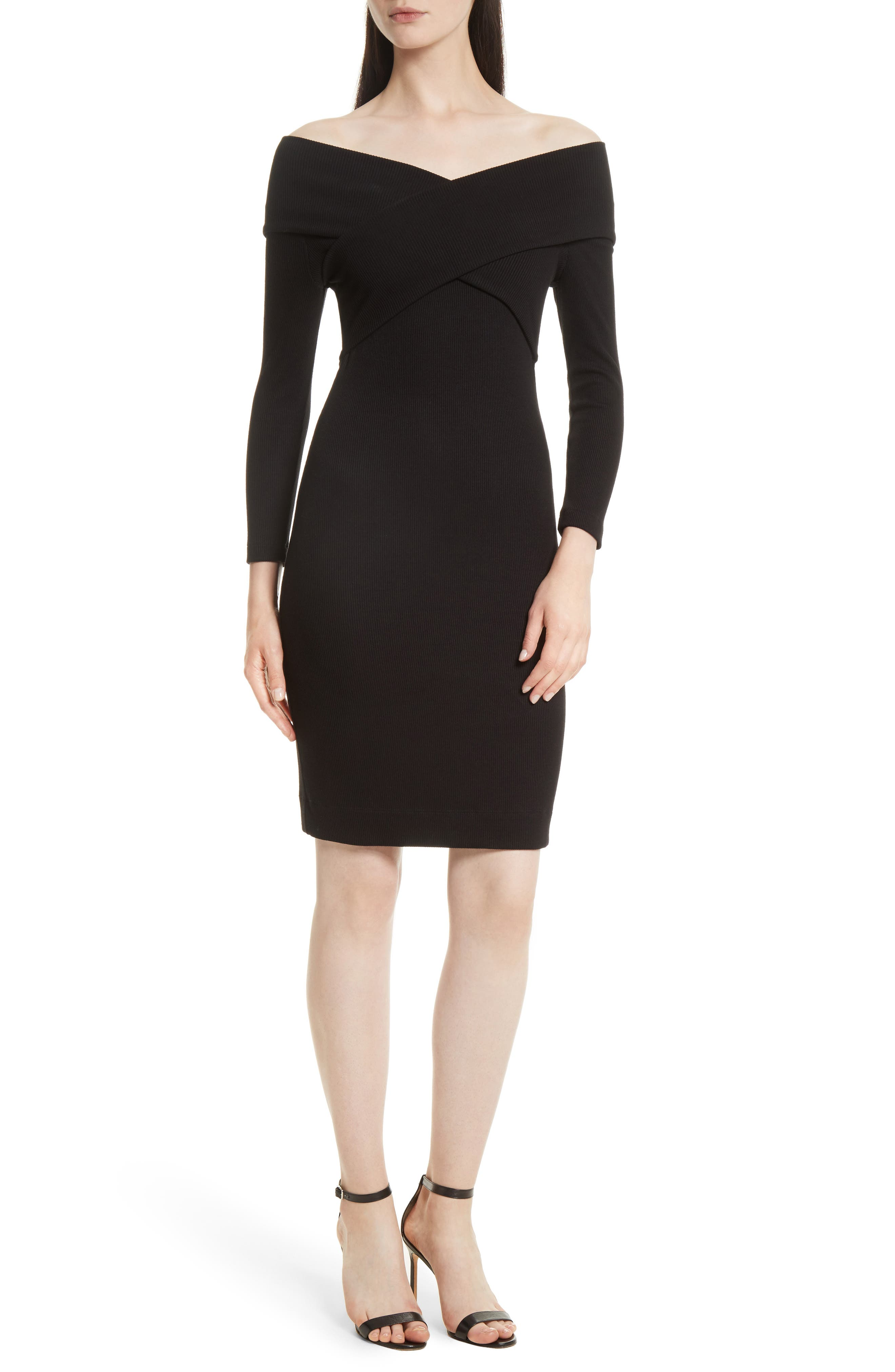 L'AGENCE Fantina Rib Knit Off the Shoulder Dress