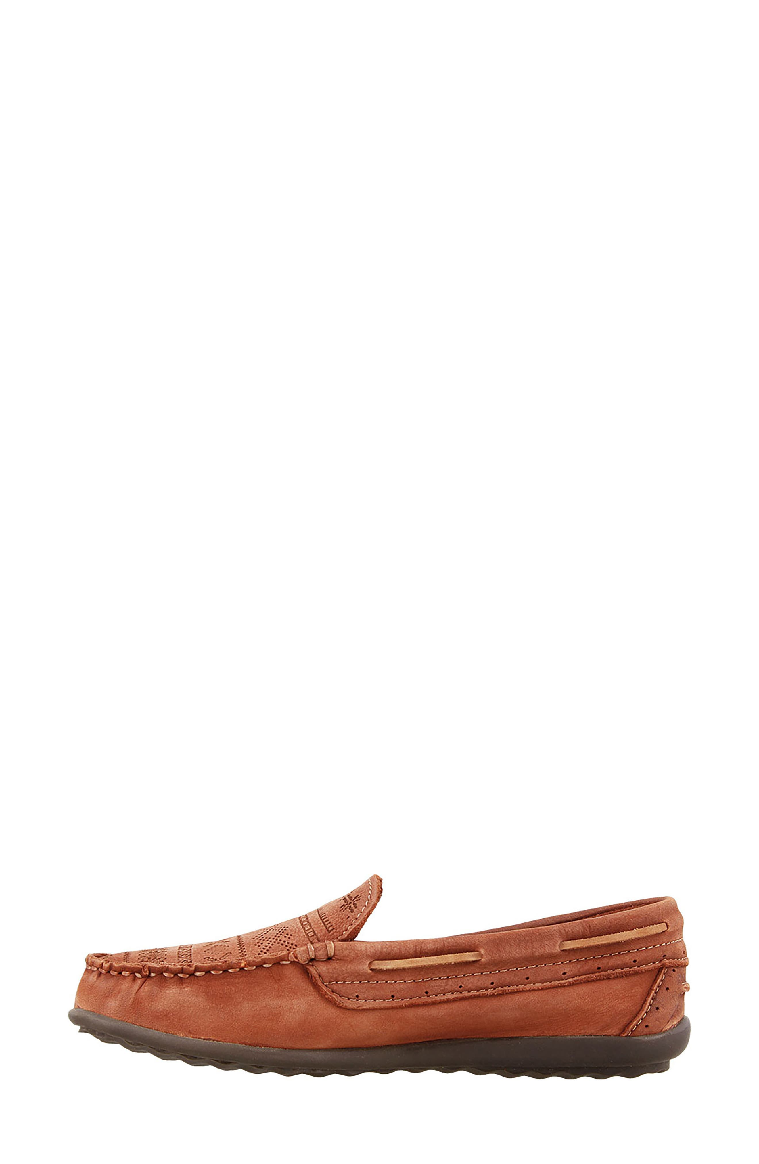 Heritage Moccasin Flat,                             Alternate thumbnail 4, color,                             Spice Red Leather