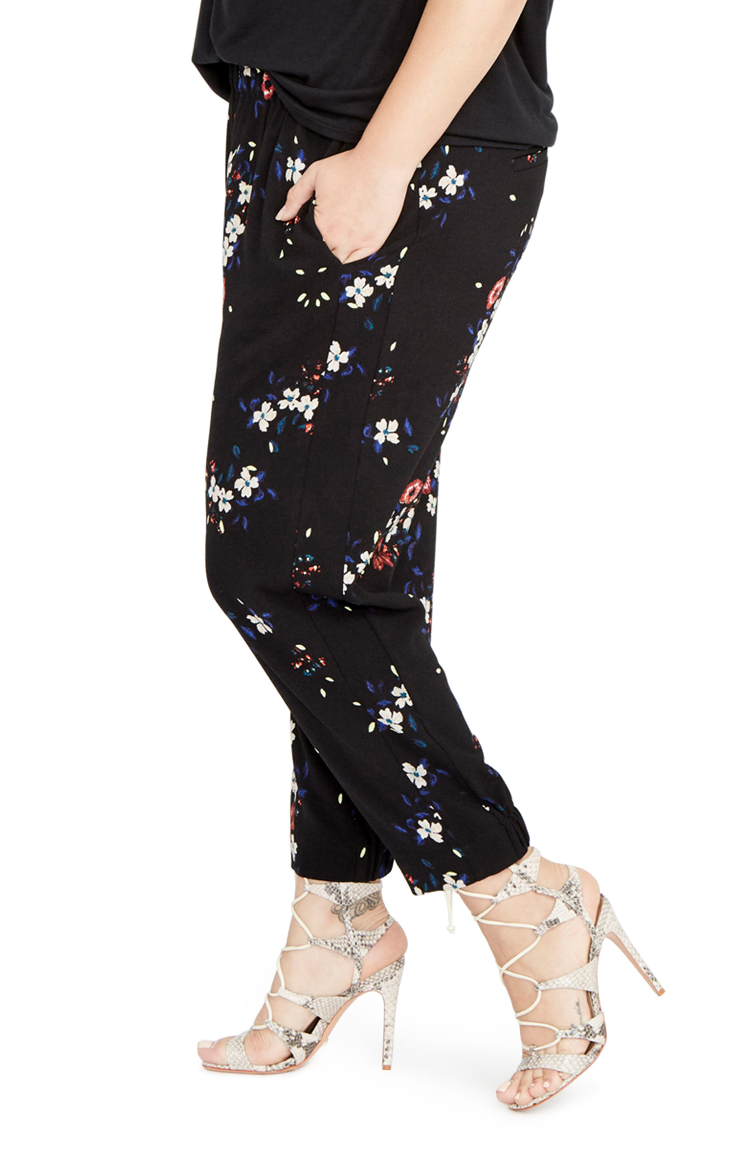 Alternate Image 3  - RACHEL Rachel Roy Floral Jogger Pants (Plus Size)