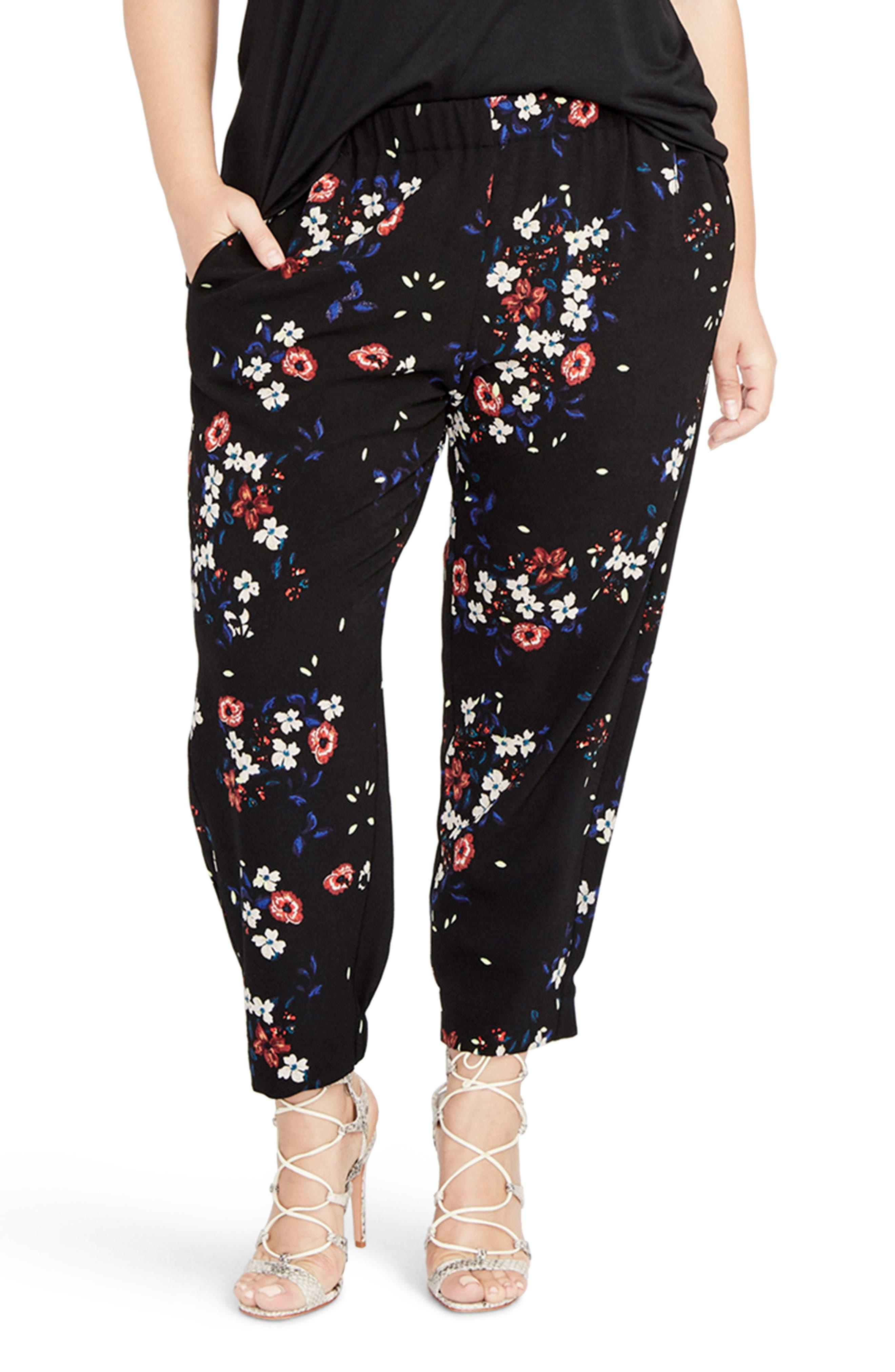 Floral Jogger Pants,                         Main,                         color, Black Combo