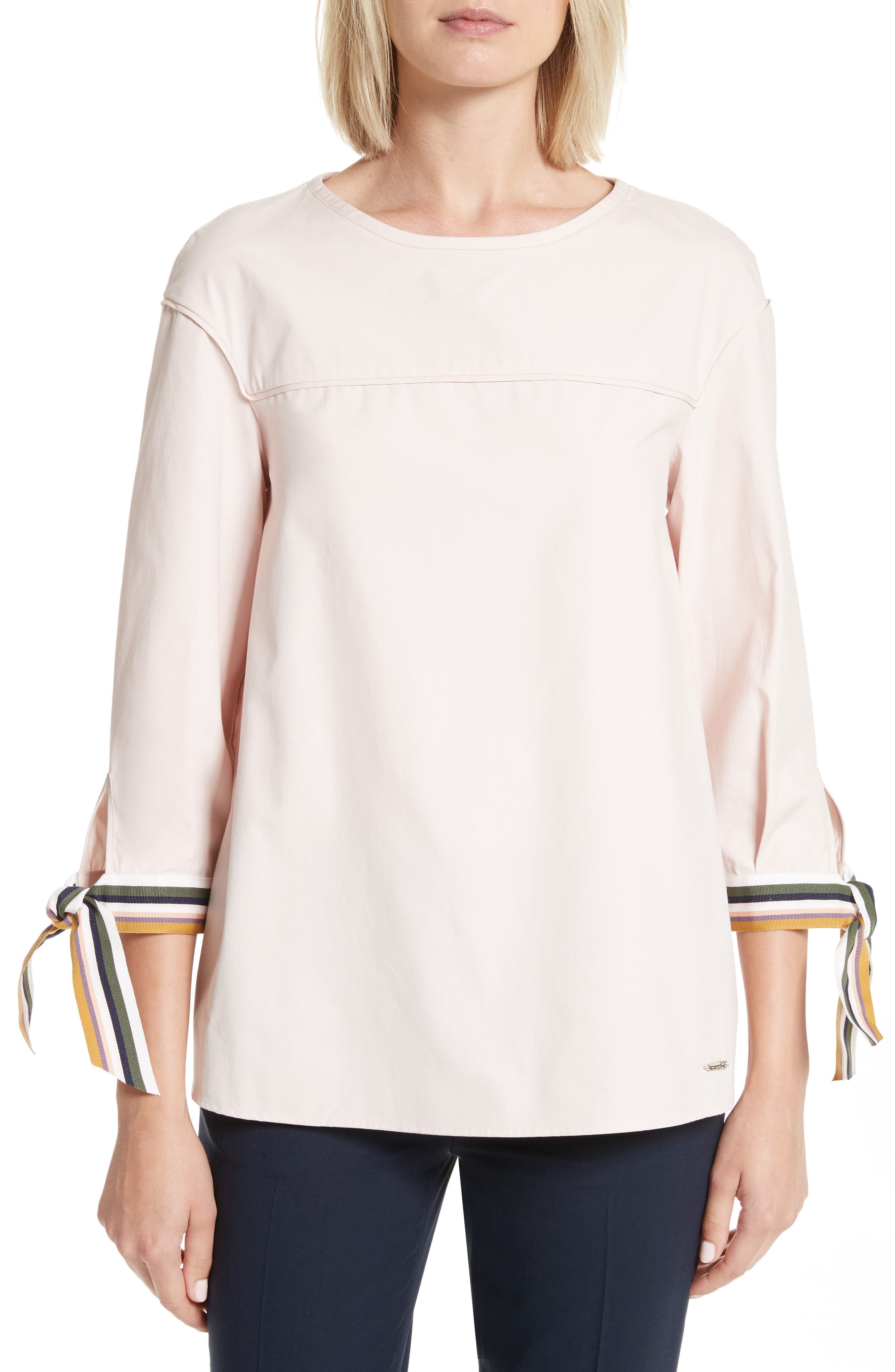 Lillou Tie Sleeve Top,                         Main,                         color, Nude Pink
