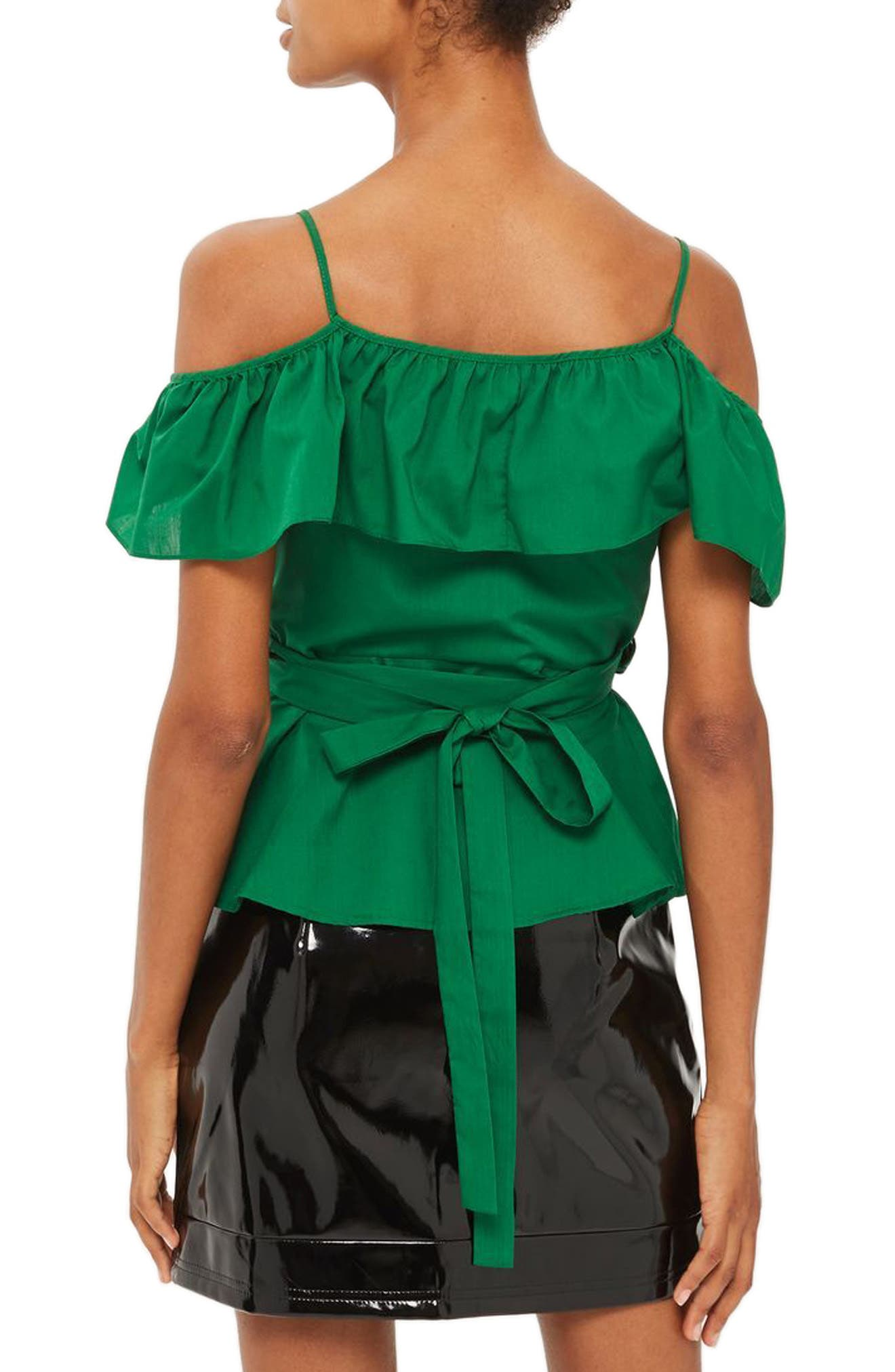 Ruffle Cold Shoulder Wrap Top,                             Alternate thumbnail 2, color,                             Green