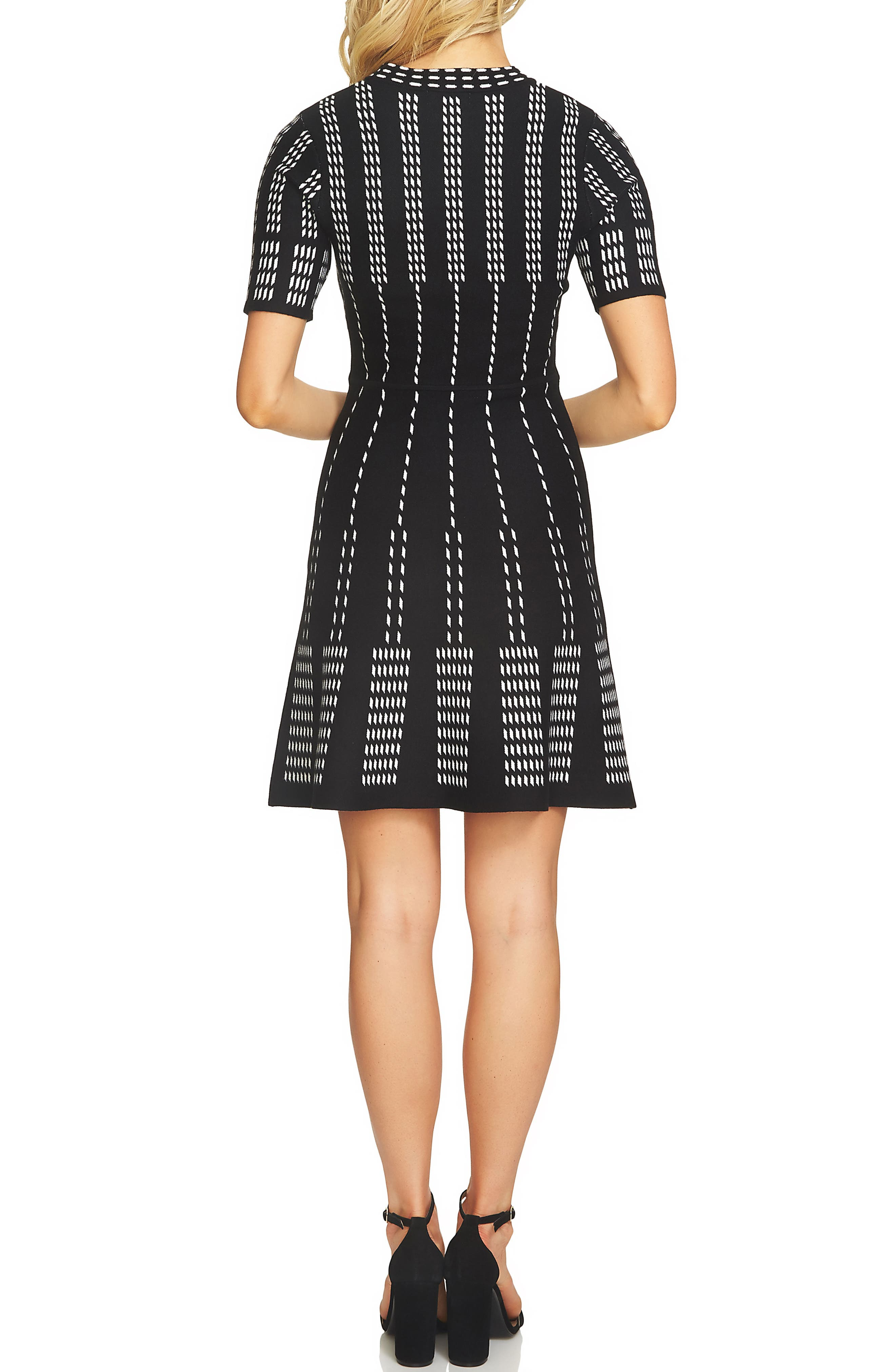 Stripe A-Line Sweater Dress,                             Alternate thumbnail 2, color,                             Rich Black