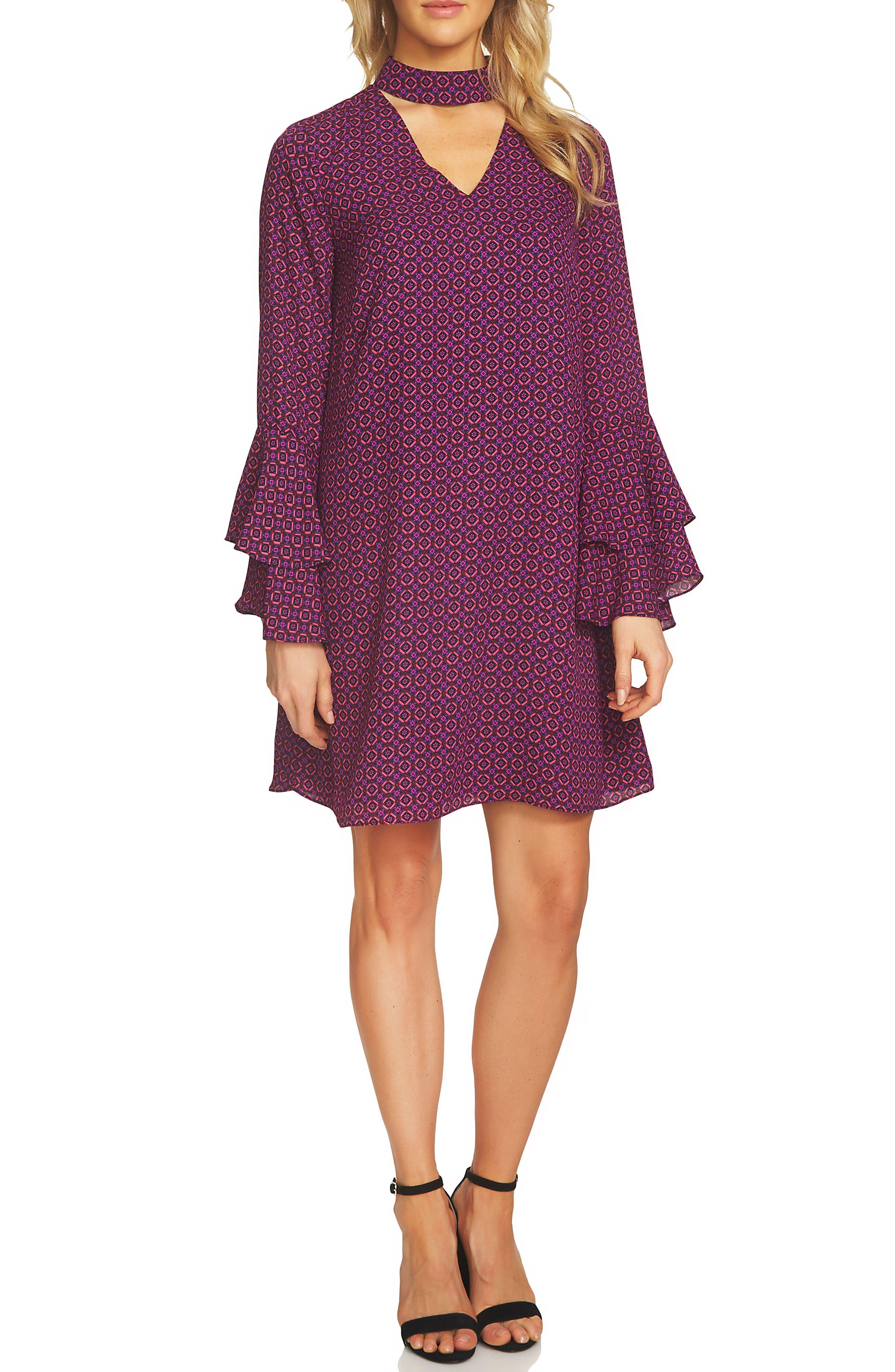 Choker Bell Sleeve Dress,                         Main,                         color, Vibrant Cerise