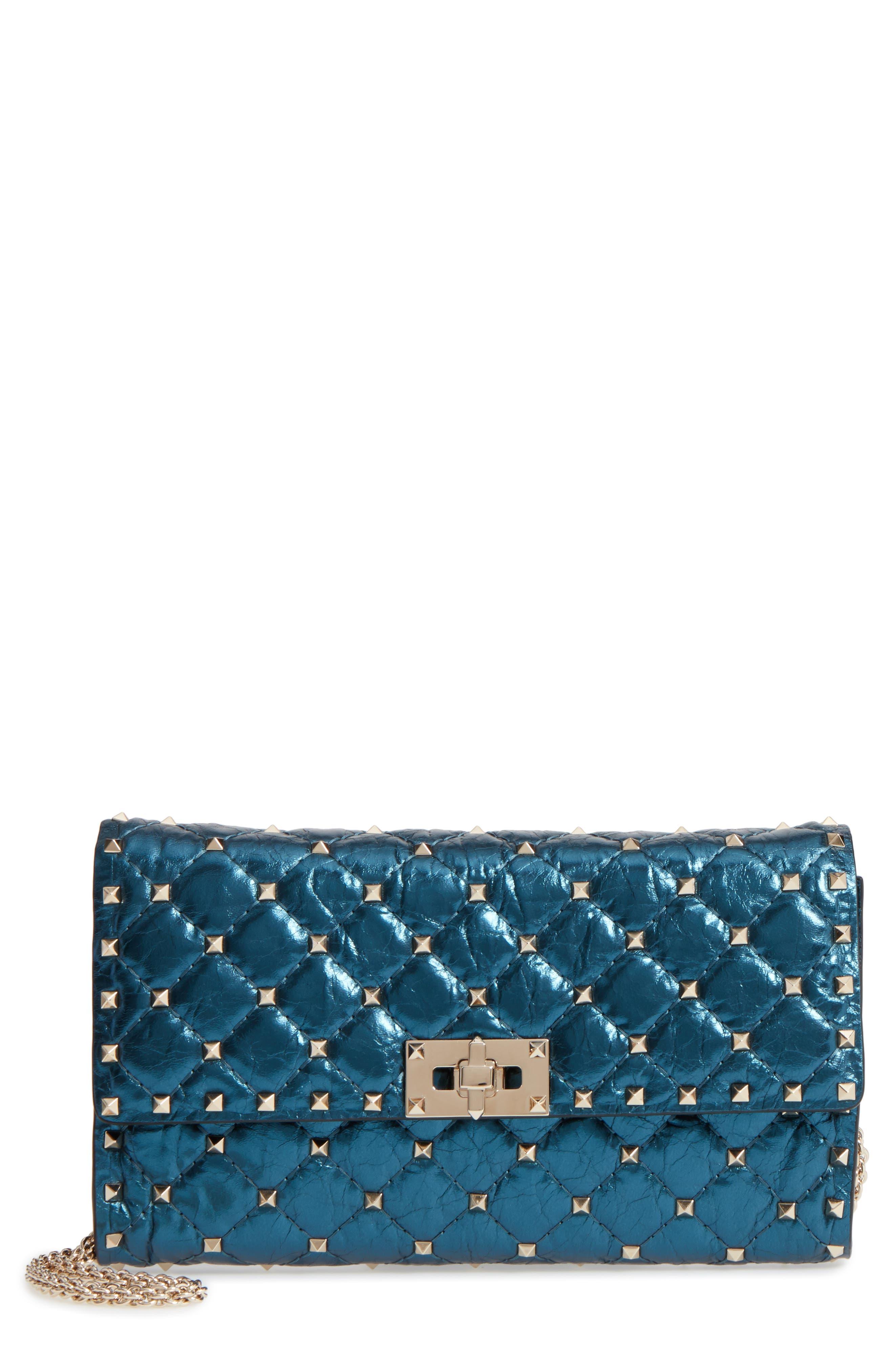 Main Image - VALENTINO GARAVANI Small Rockstud Spike Laminato Crossbody Bag