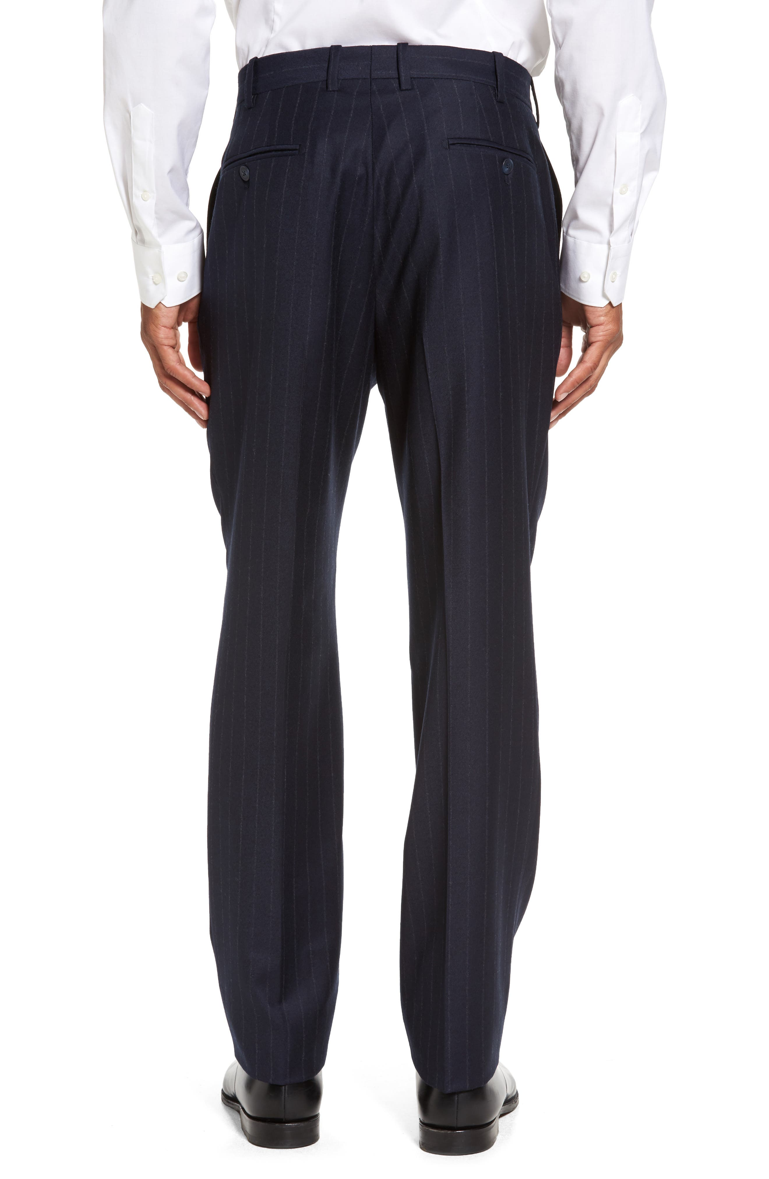 Flat Front Chalk Stripe Wool Trousers,                             Alternate thumbnail 2, color,                             Navy