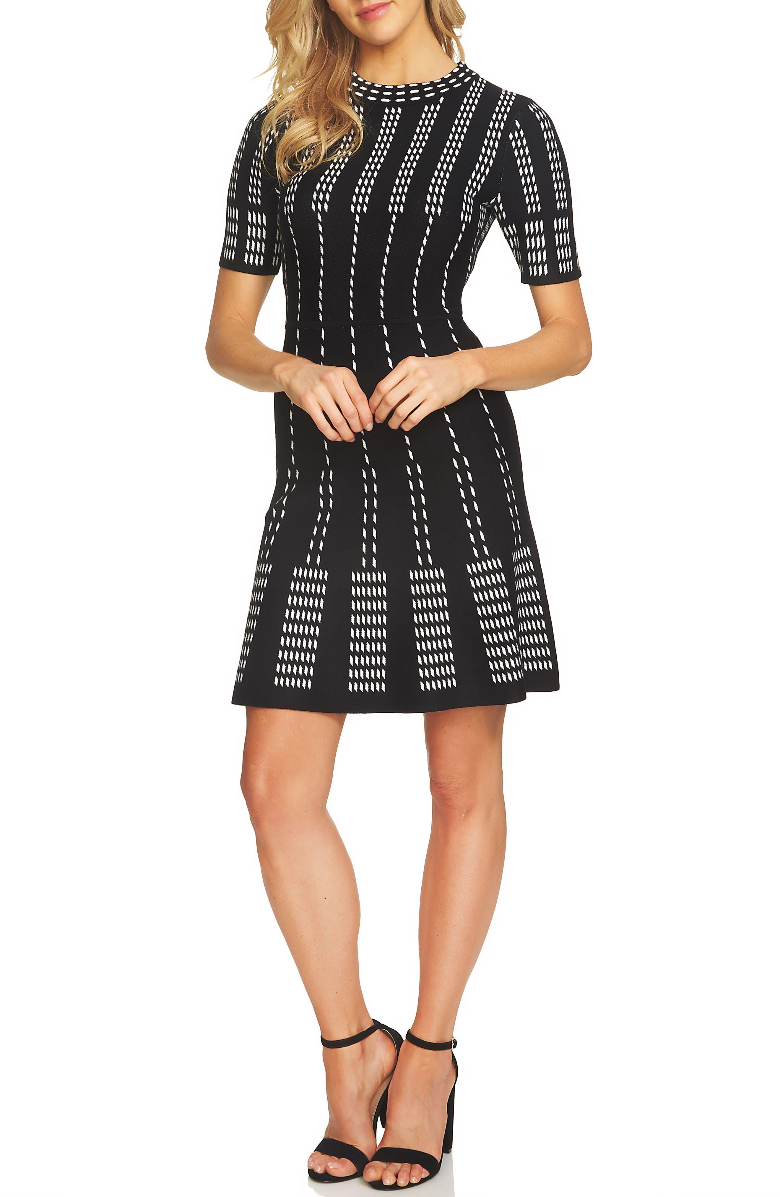 Stripe A-Line Sweater Dress,                             Main thumbnail 1, color,                             Rich Black