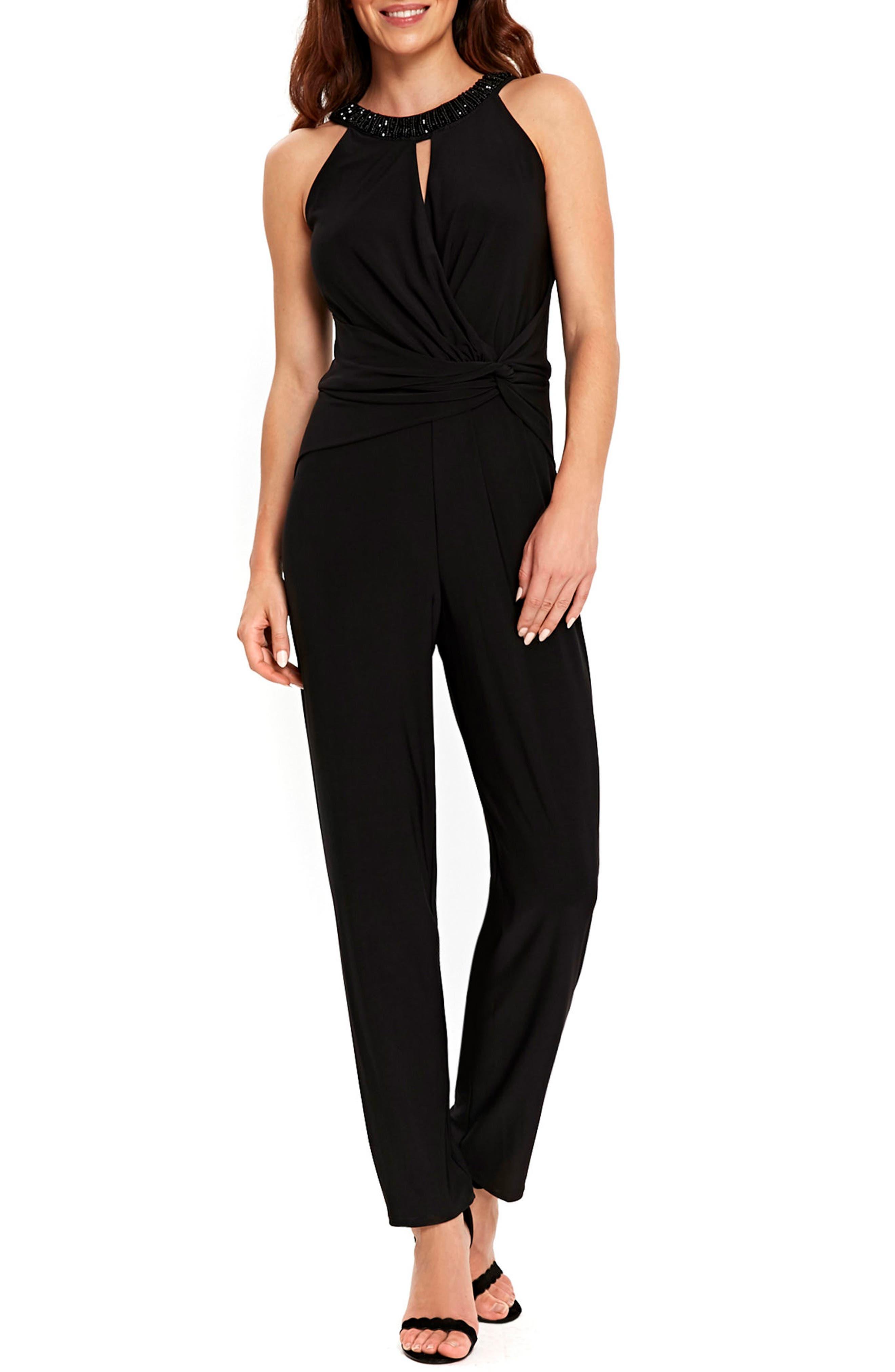 Embellished Neck Jumpsuit,                         Main,                         color, Black