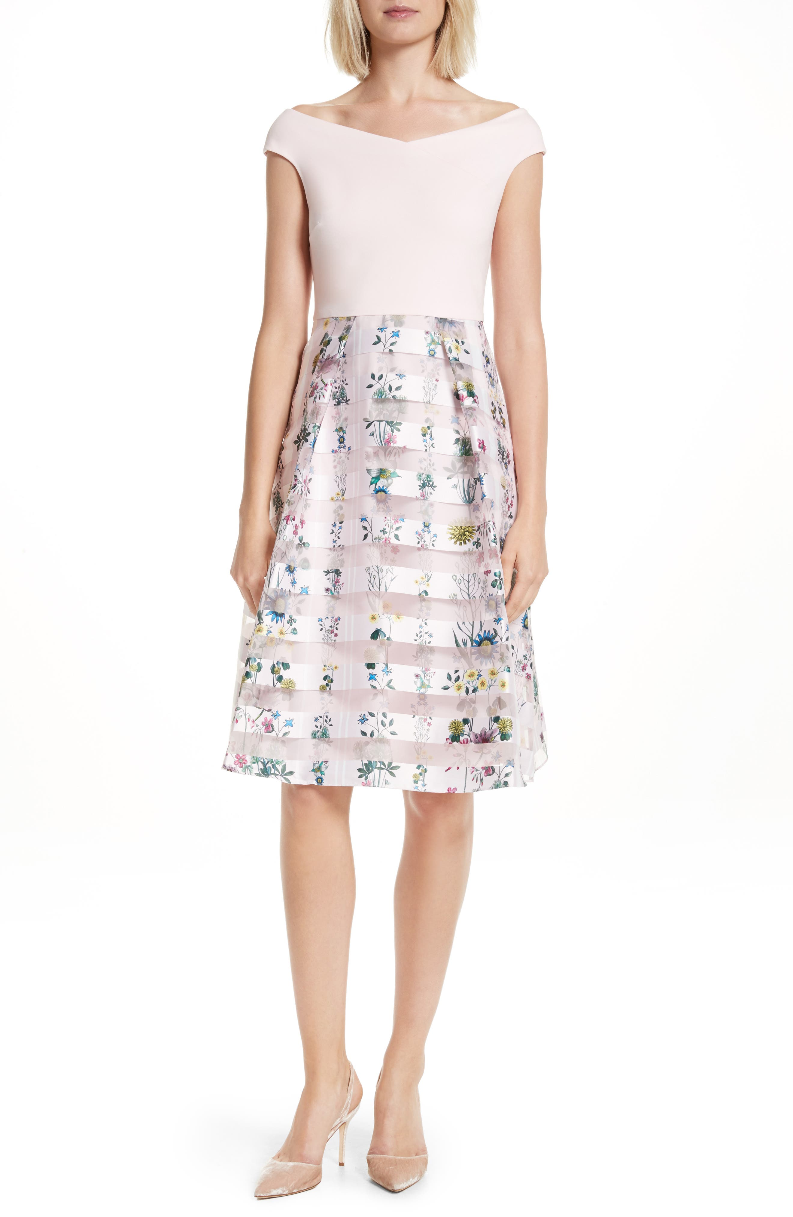 Alternate Image 1 Selected - Ted Baker London Lulou Unity Floral Off the Shoulder Dress