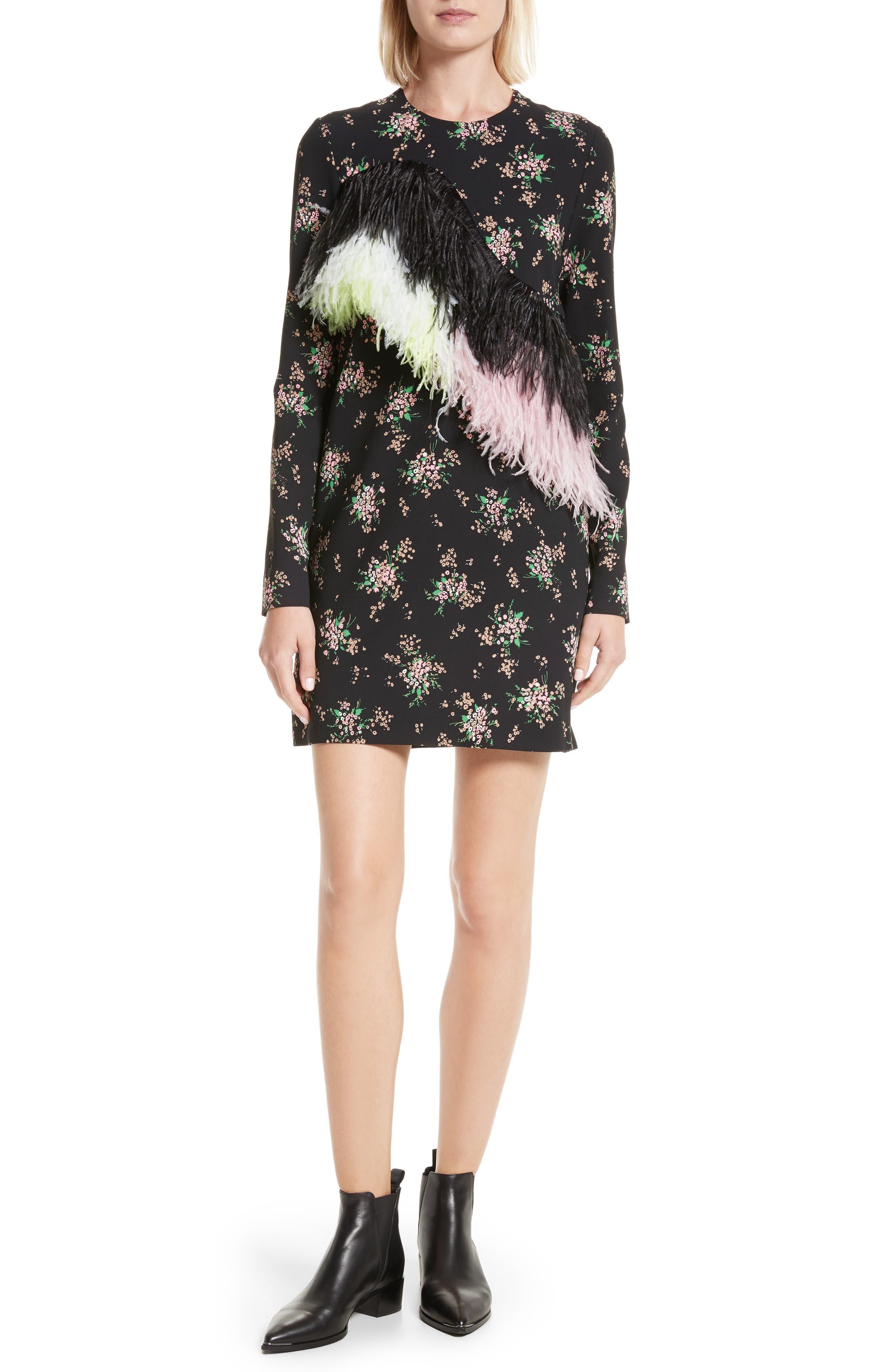 Ostrich Feather Trim Floral Print Dress,                         Main,                         color, Black