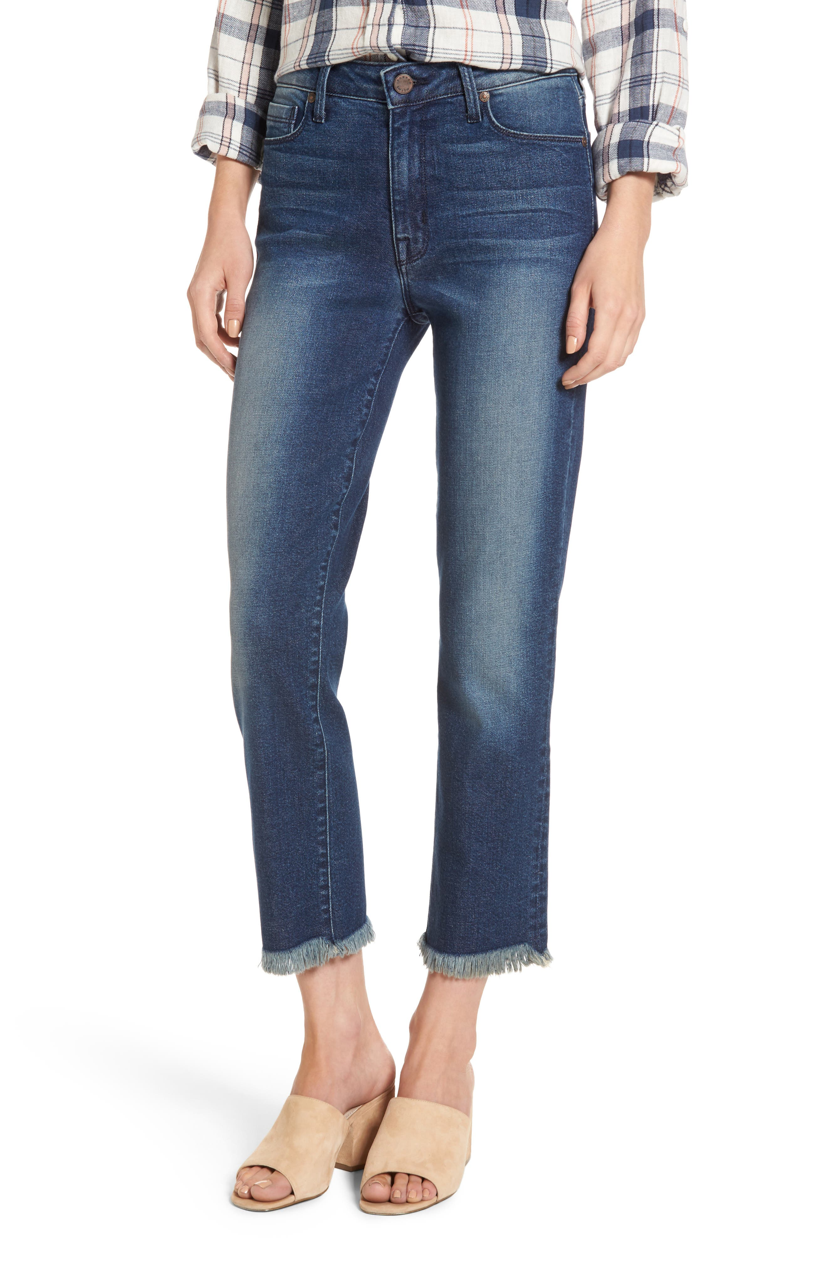 Main Image - PARKER SMITH Pin-Up Crop Straight Leg Jeans (Captain)