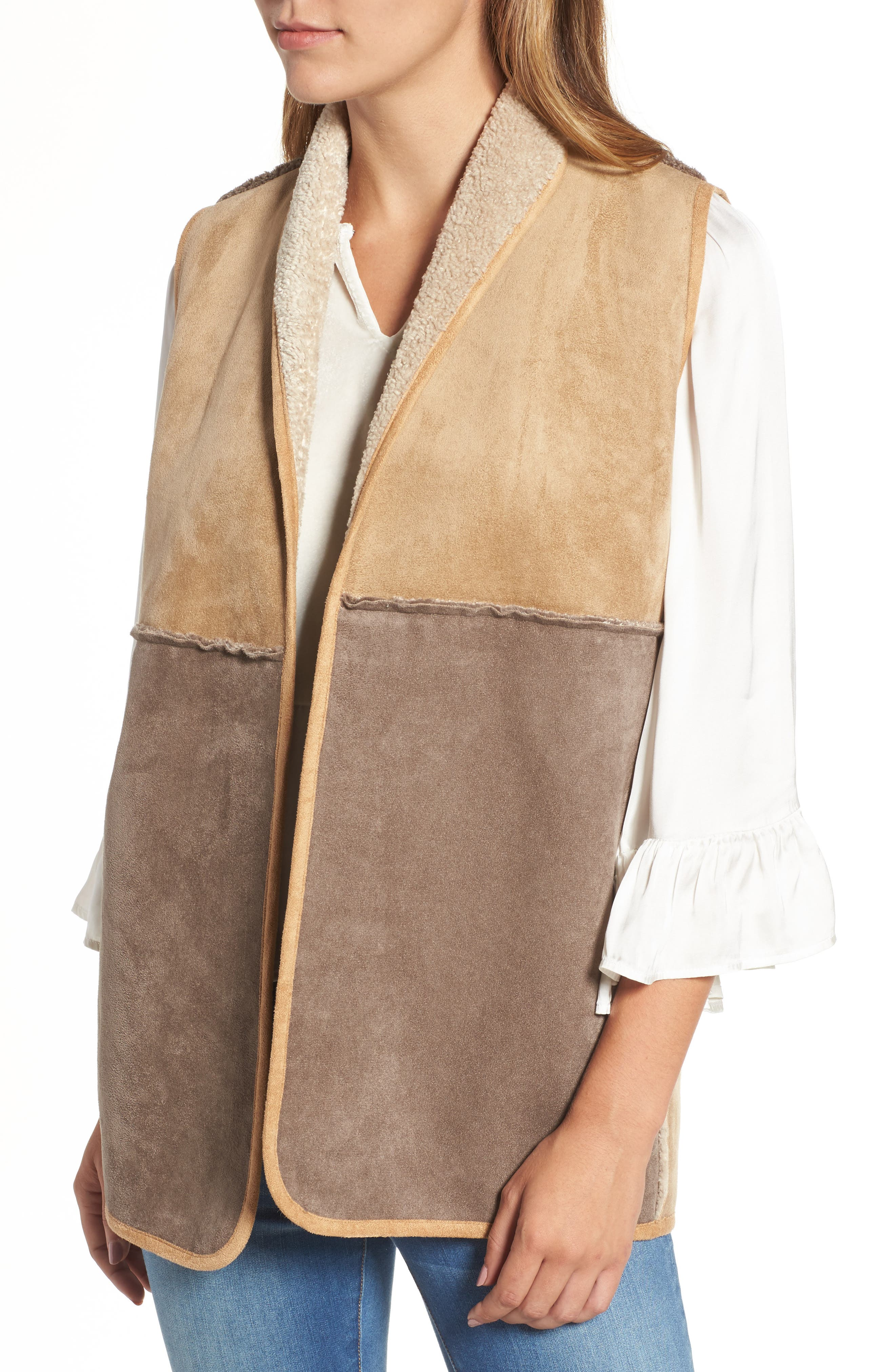 Reversible Faux Shearling Vest,                             Alternate thumbnail 4, color,                             Multi