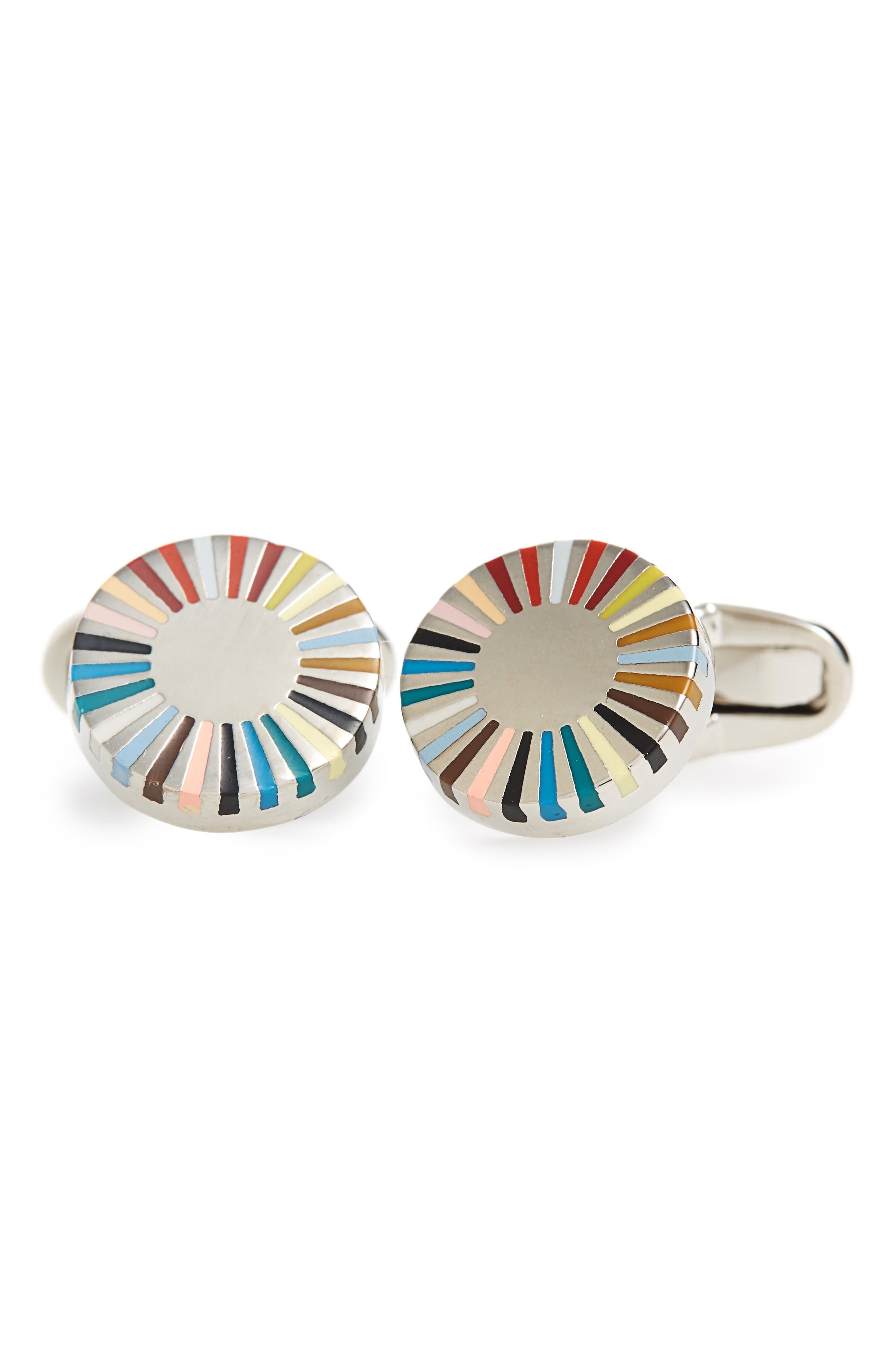 Circular Edge Cuff Links,                         Main,                         color, Multi