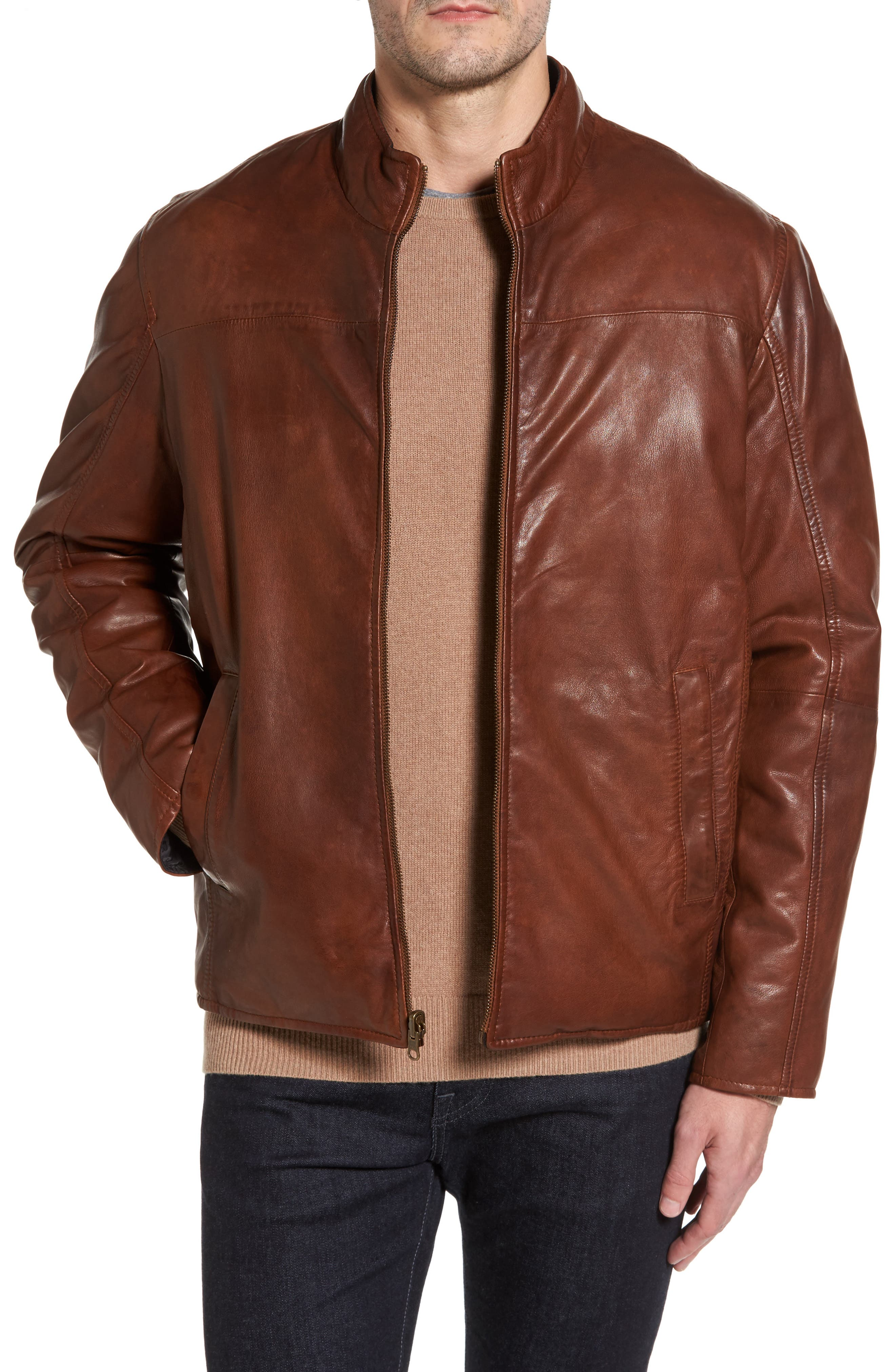 Reversible Washed Leather Jacket,                         Main,                         color, Cognac