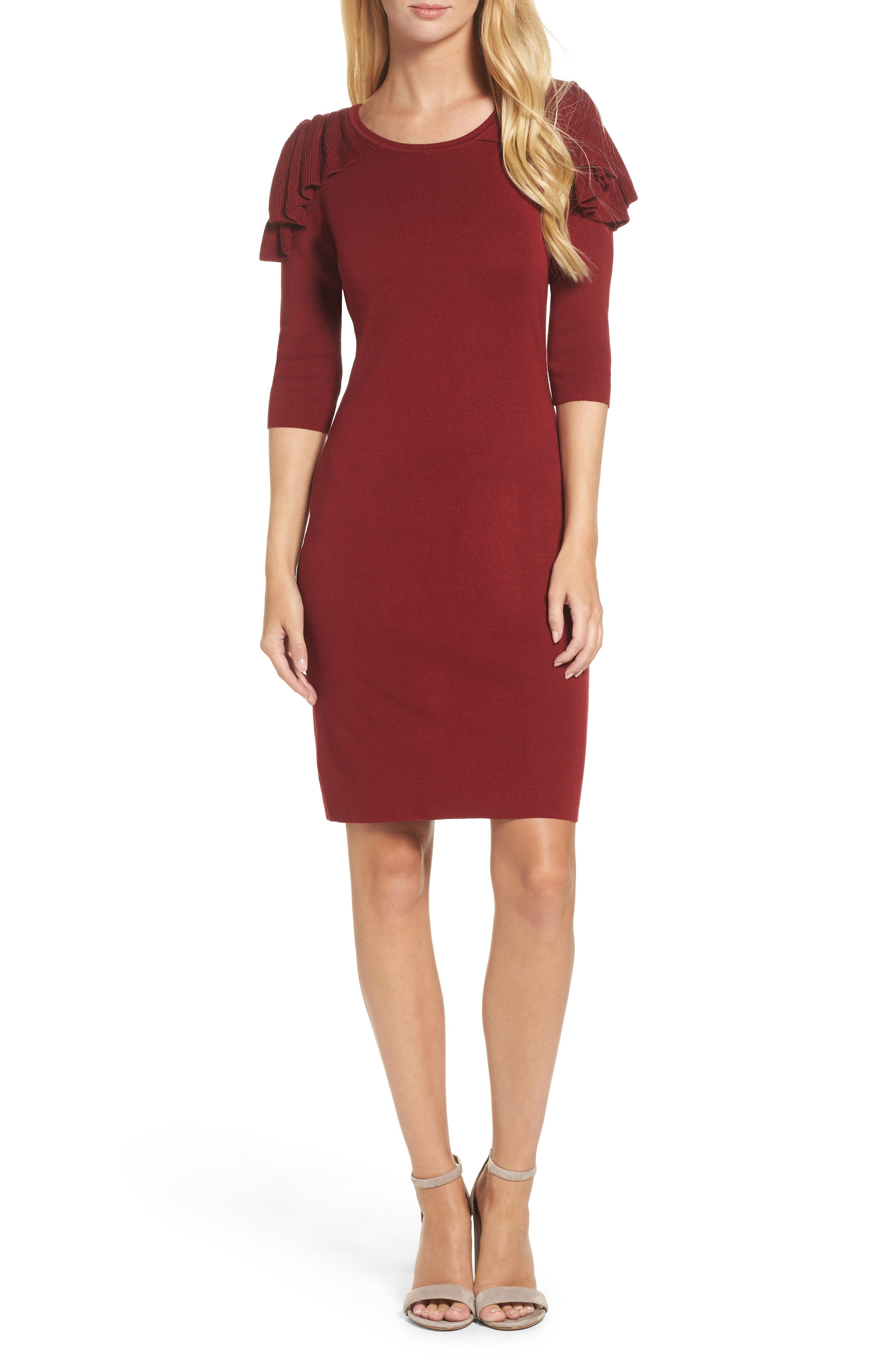 Main Image - Gabby Skye Ruffle Cold Shoulder Sweater Dress