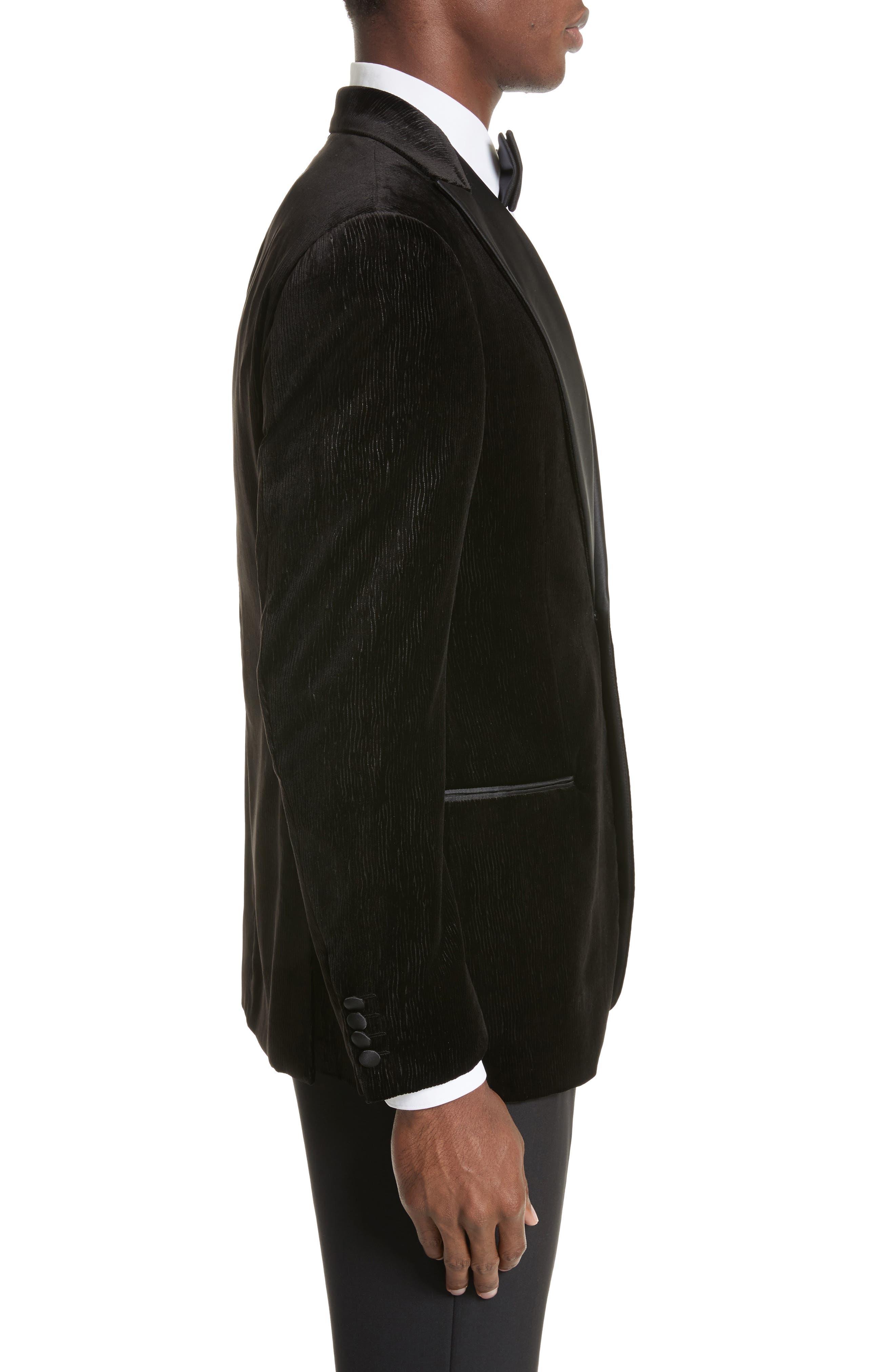 Trim Fit Velvet Dinner Jacket,                             Alternate thumbnail 3, color,                             Black