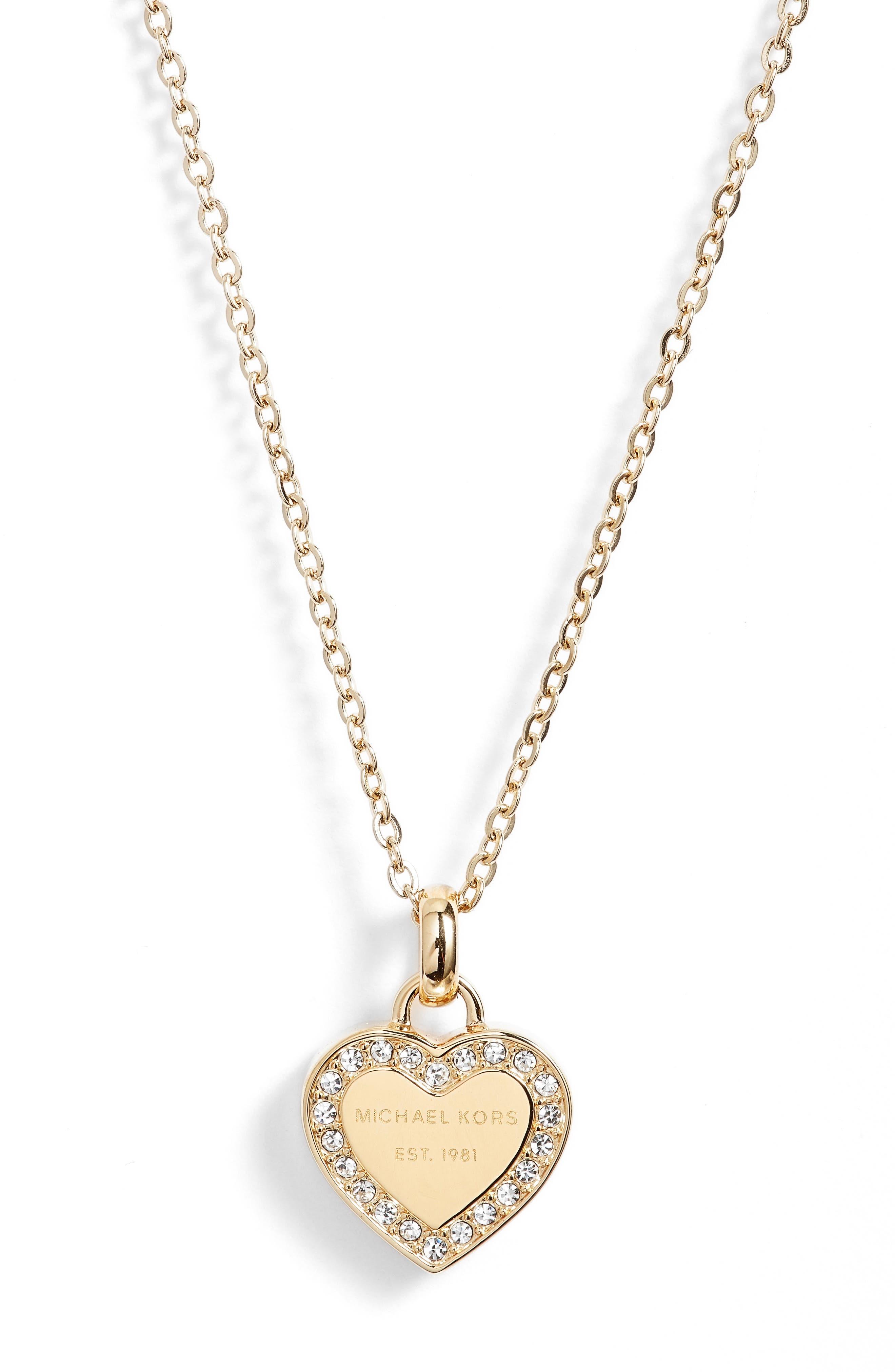 Heart Pendant Necklace,                             Alternate thumbnail 2, color,                             Gold