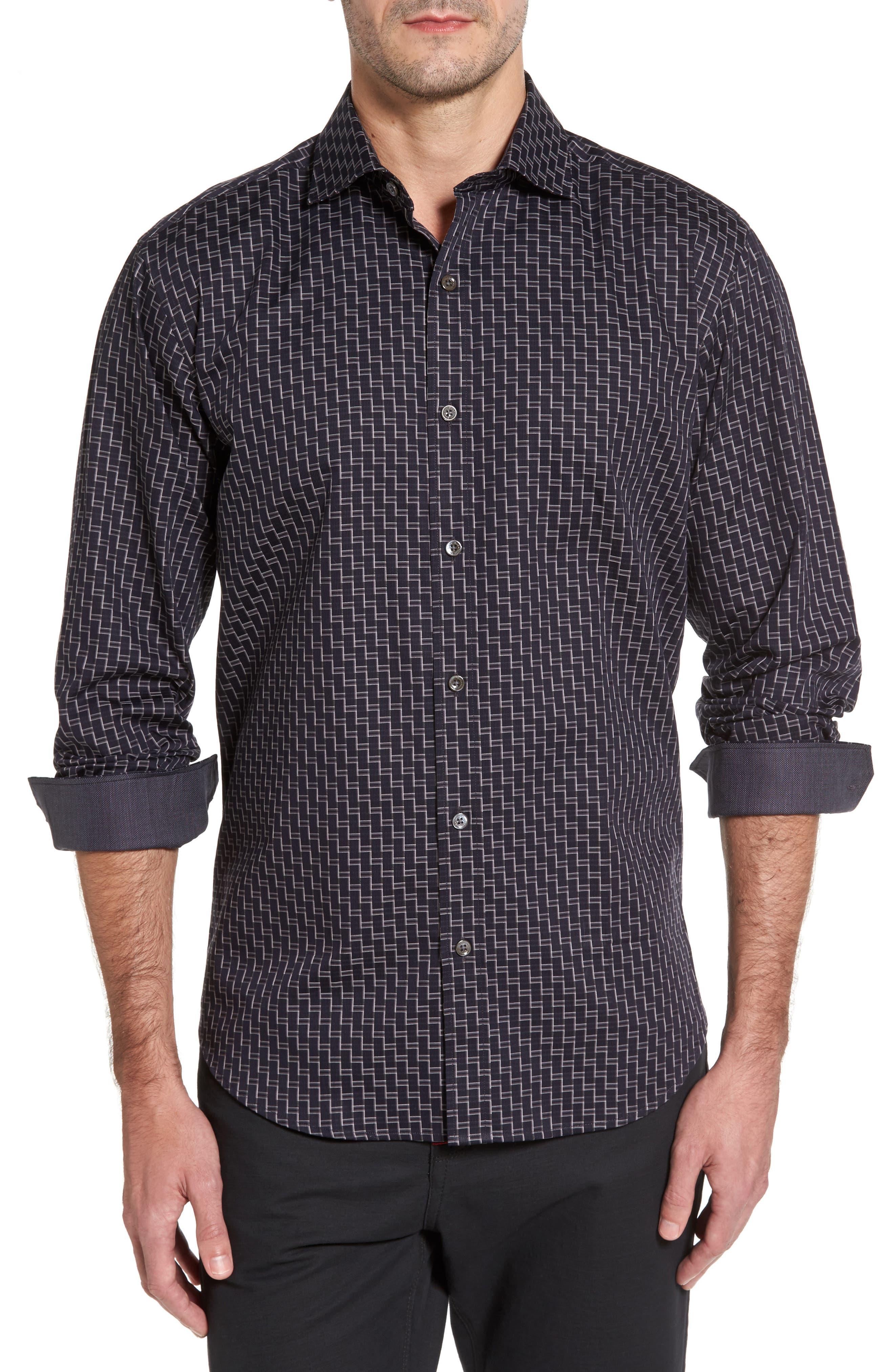 Main Image - Bugatchi Shaped Fit Step Check Stripe Sport Shirt