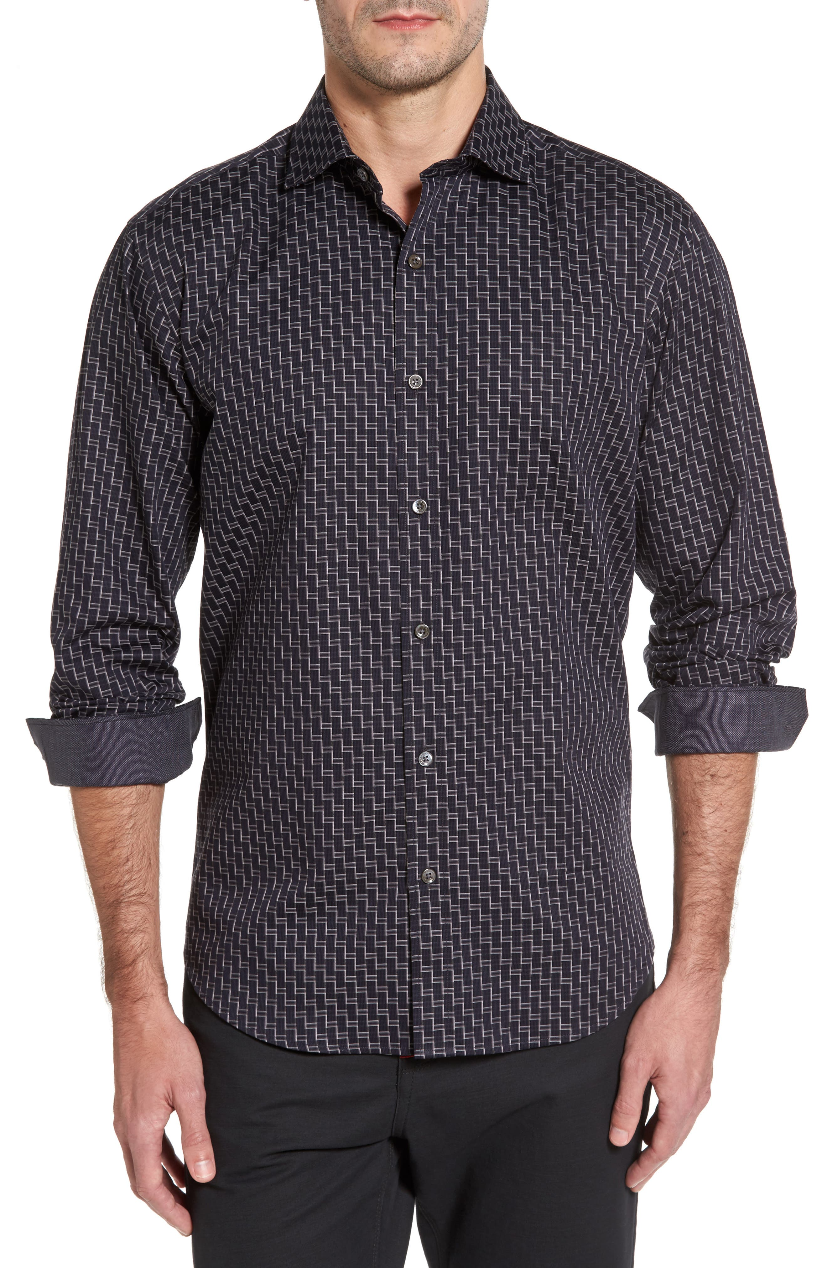 Bugatchi Shaped Fit Step Check Stripe Sport Shirt