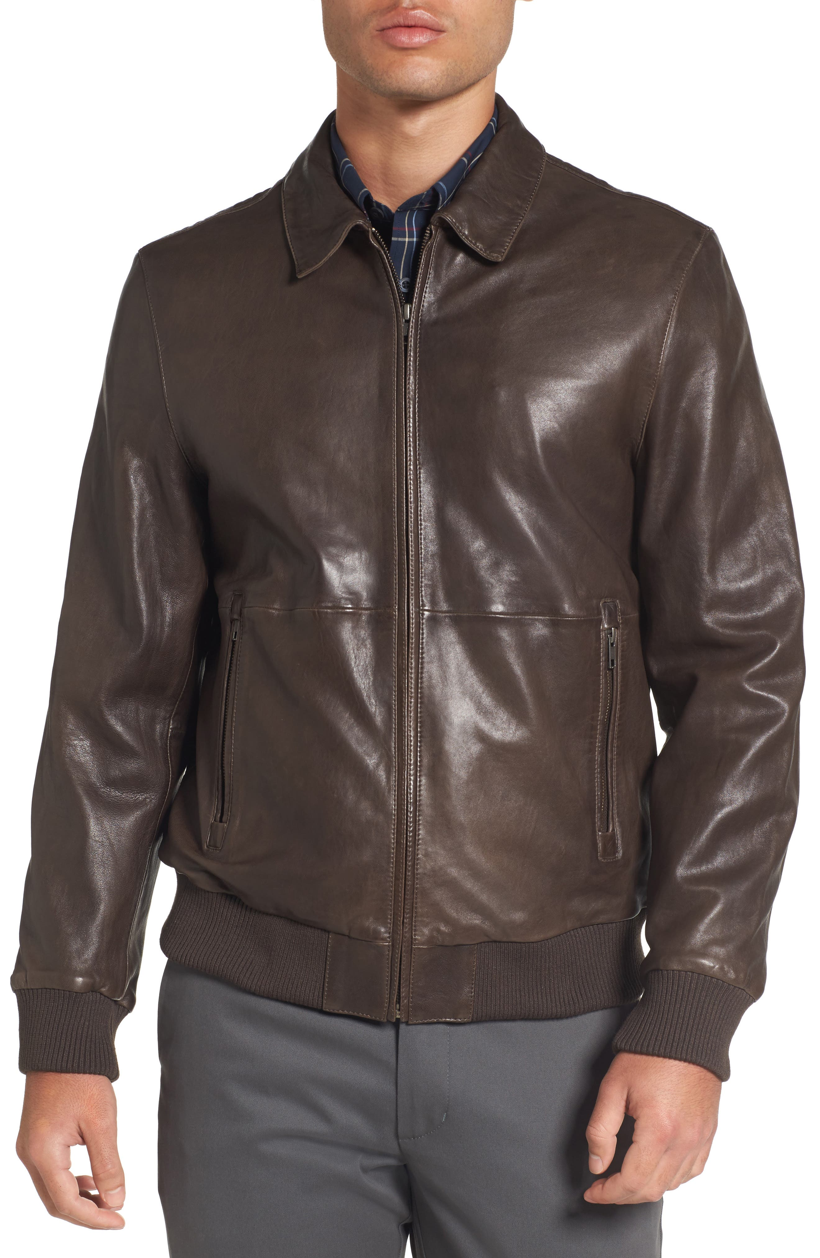 Leather Bomber Jacket,                             Alternate thumbnail 4, color,                             Brown Seal