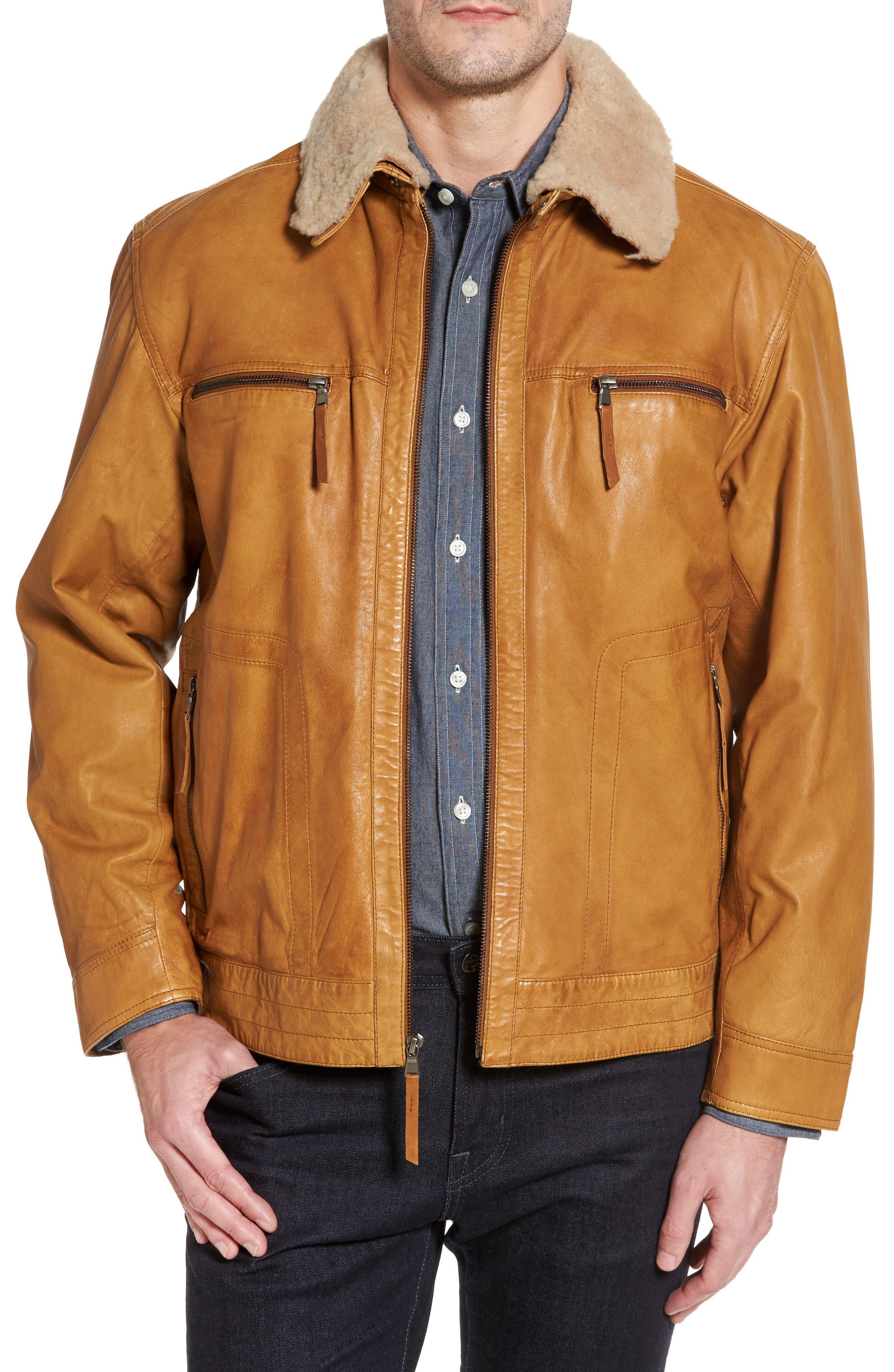 Leather Jacket with Detachable Genuine Shearling Collar,                             Main thumbnail 1, color,                             Cognac