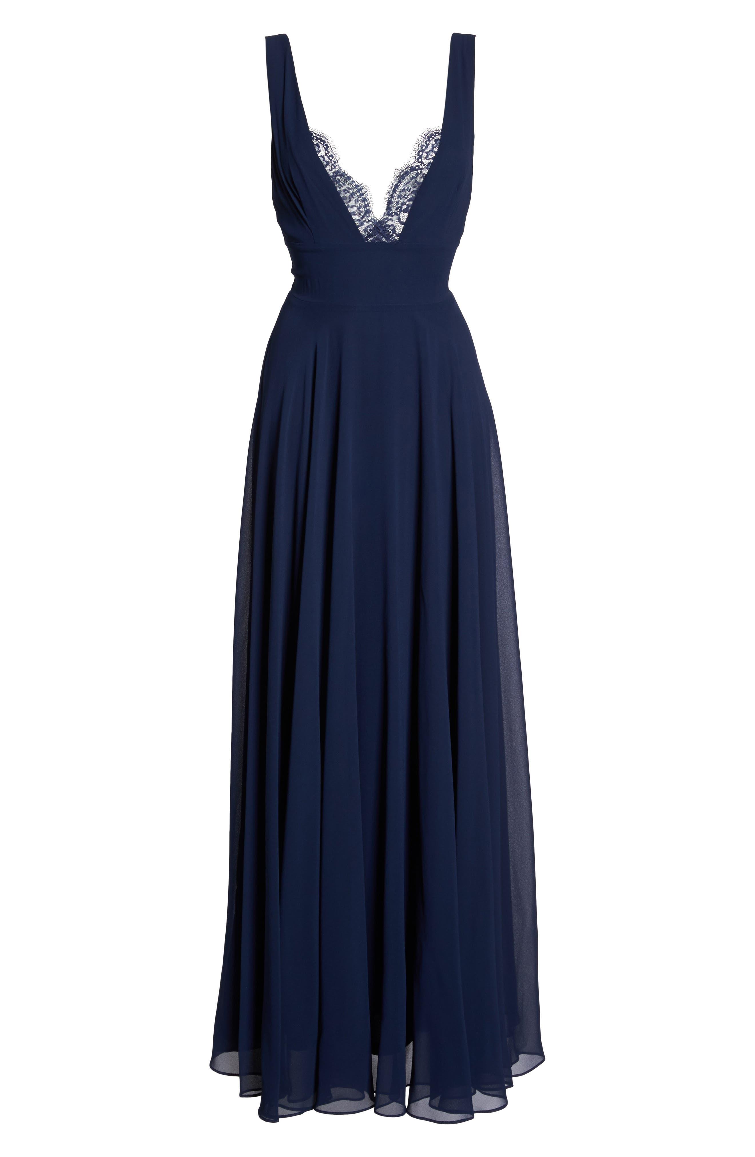 Alternate Image 6  - Lulus Lace Trim Chiffon Maxi Dress