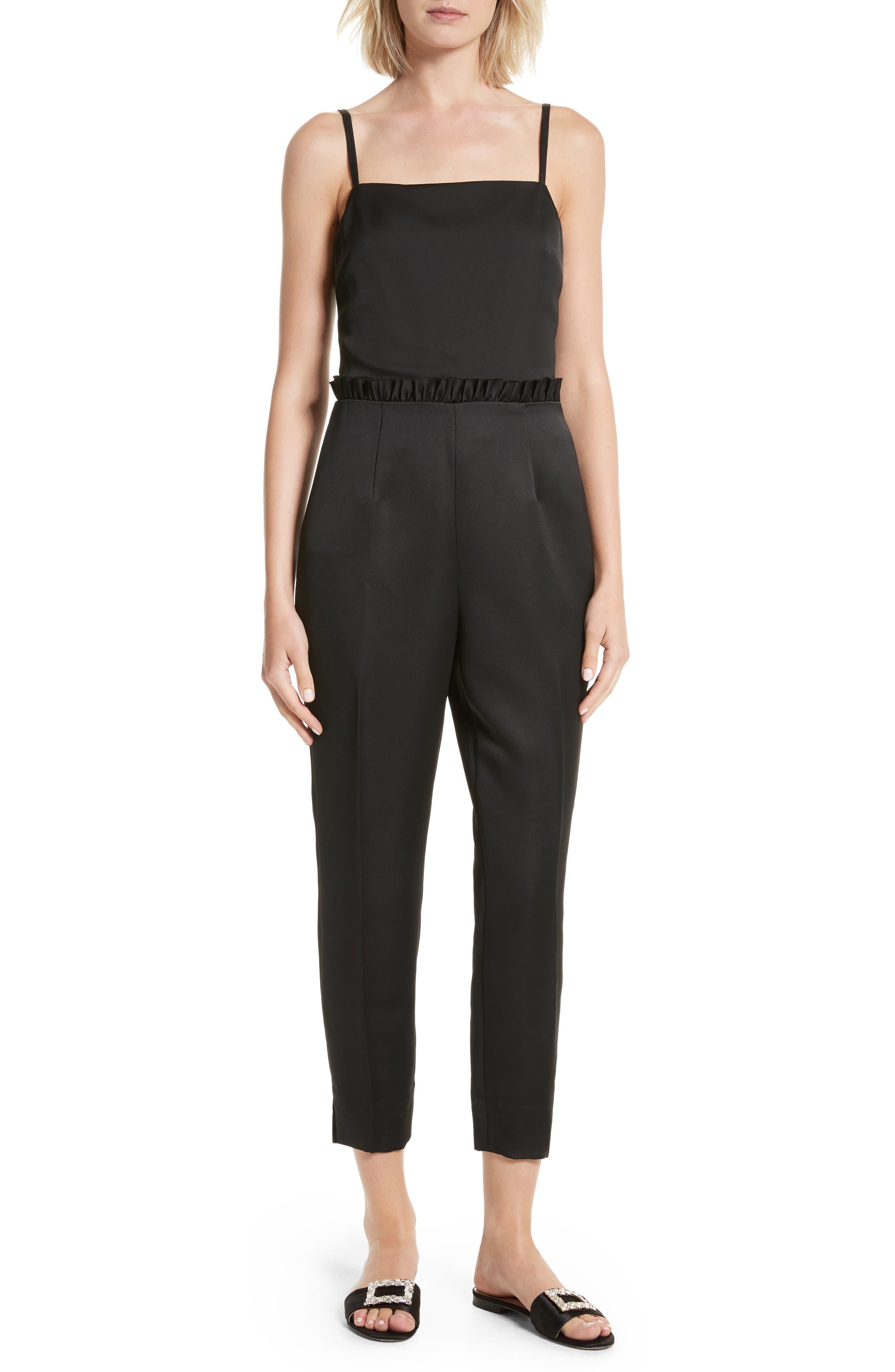 Strappy Ankle Grazer Jumpsuit,                         Main,                         color, Black