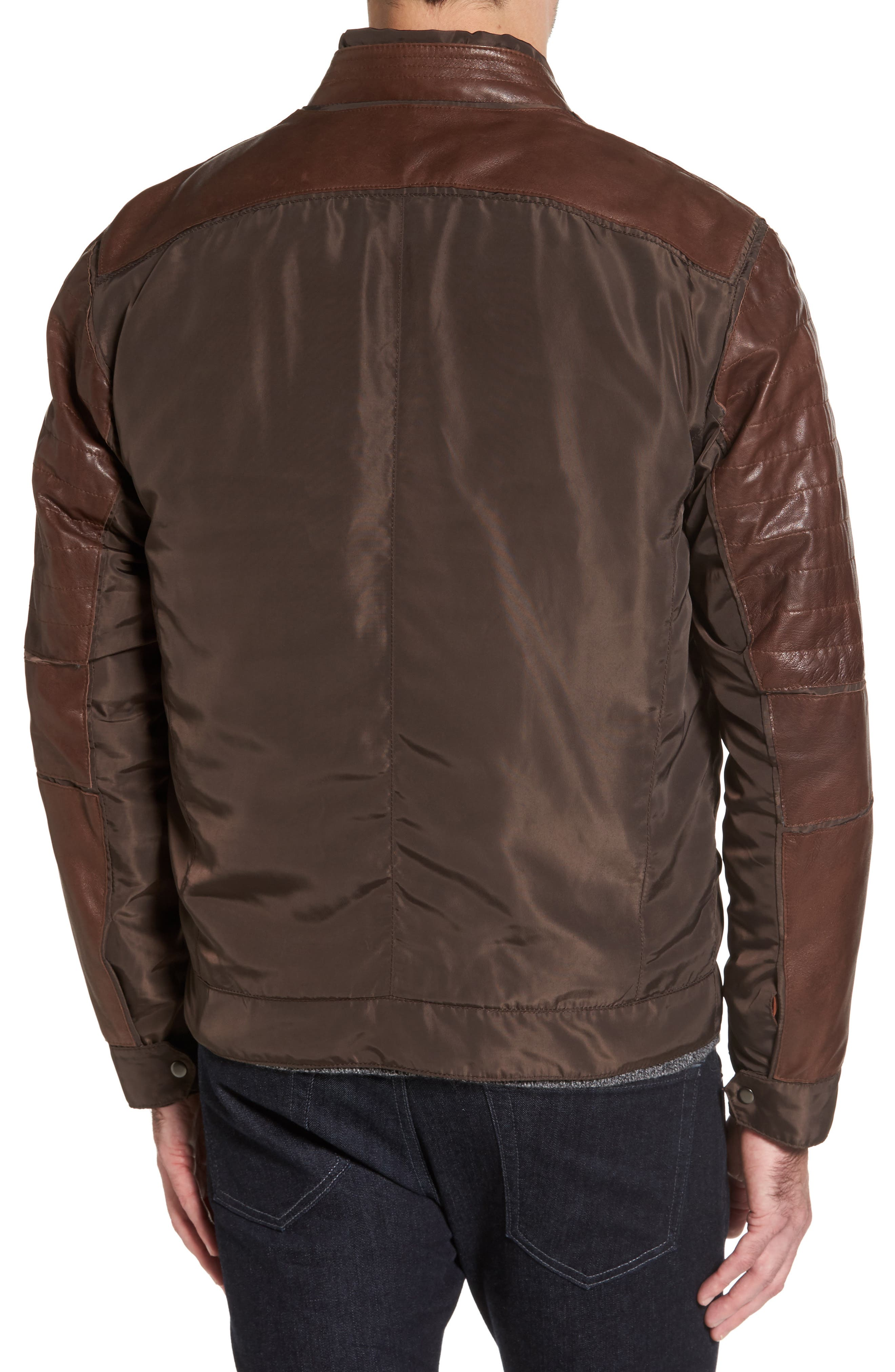 Leather Panel Nylon Jacket,                             Alternate thumbnail 2, color,                             Brown