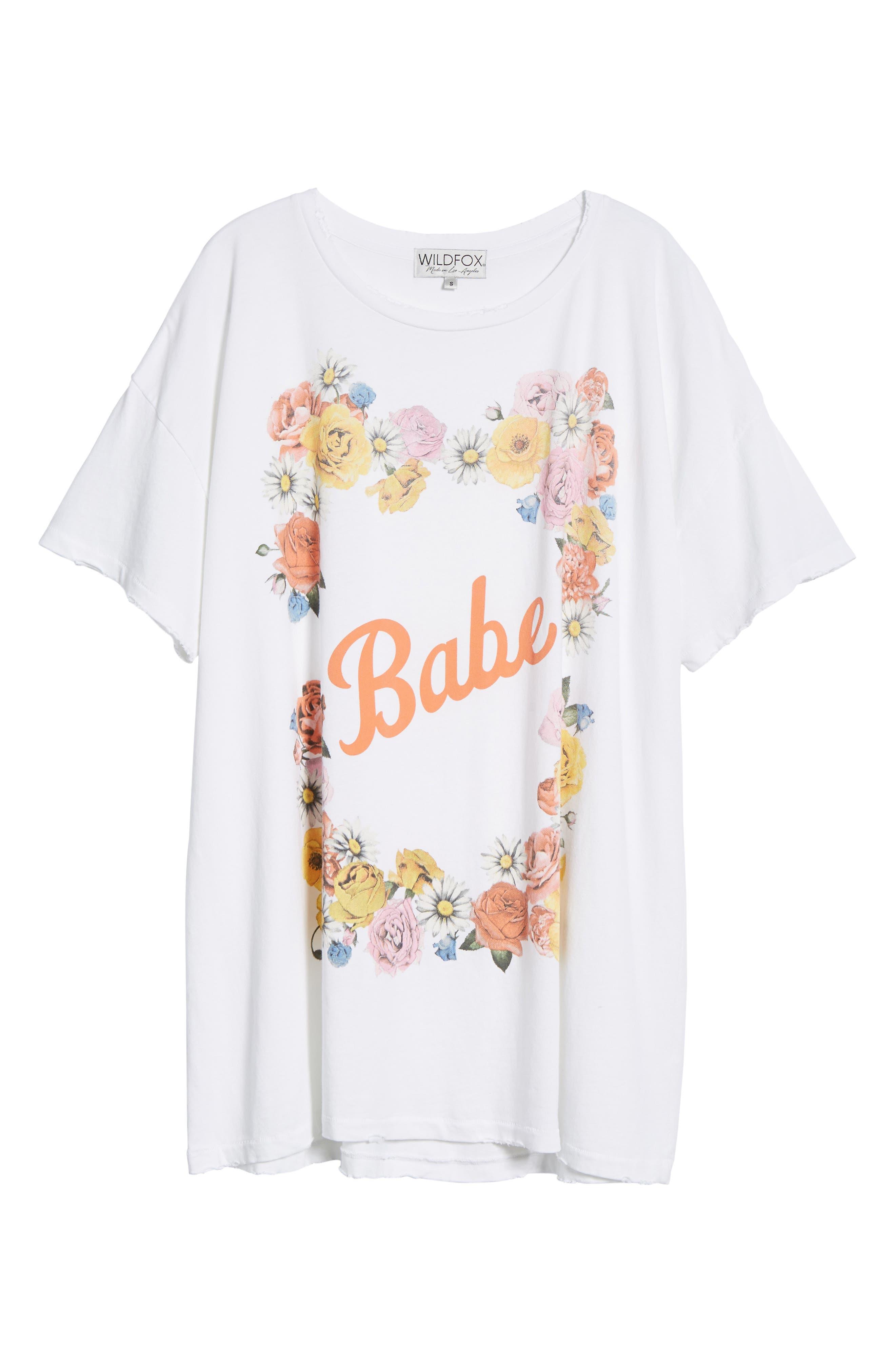 Babe T-Shirt Dress,                             Alternate thumbnail 6, color,                             Clean White
